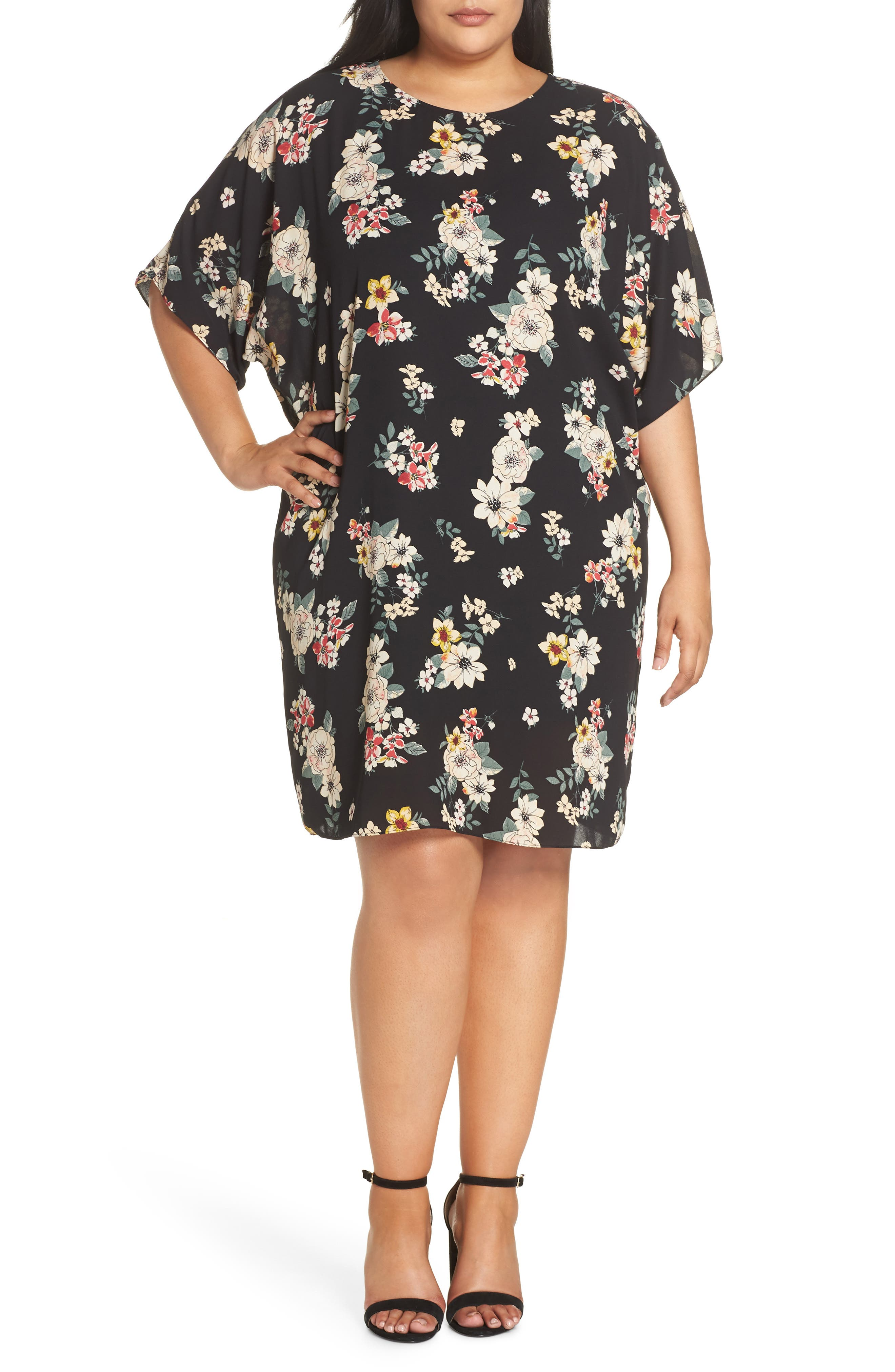 Plus Size Vince Camuto Floral Story Dolman Sleeve Dress, Black