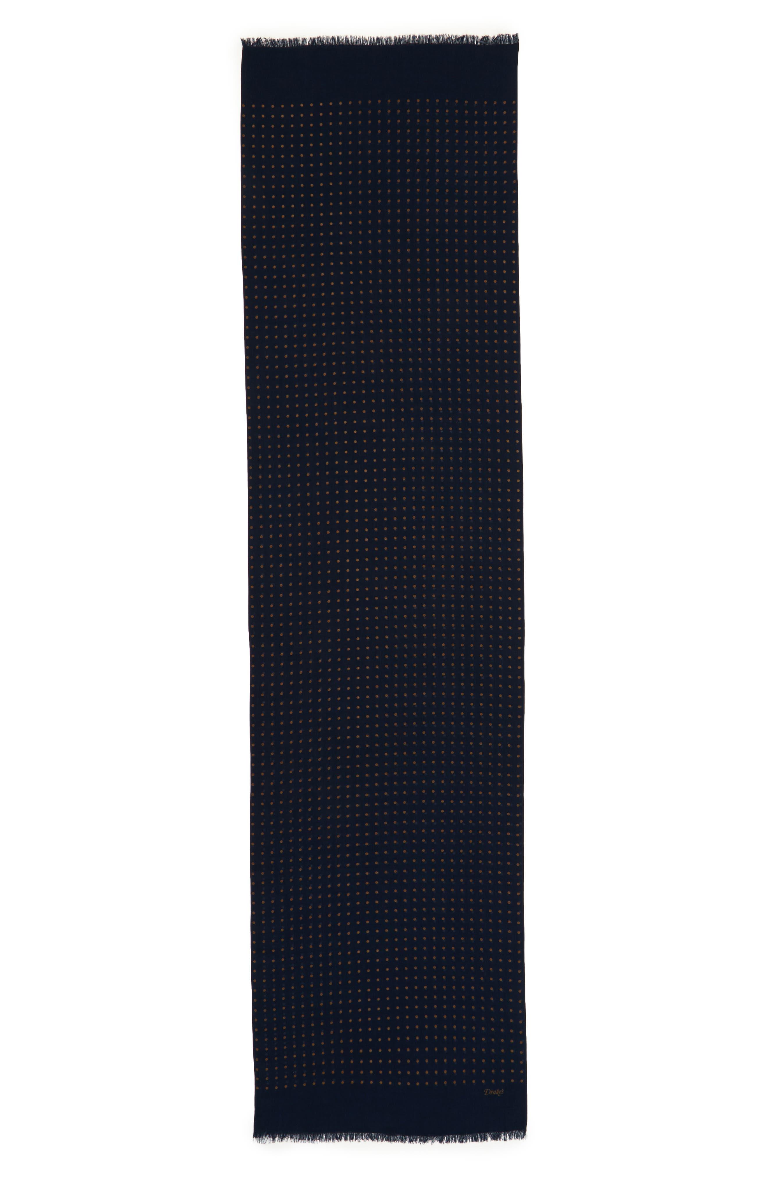 Drakes Dot Wool & Silk Scarf,                             Alternate thumbnail 2, color,                             411