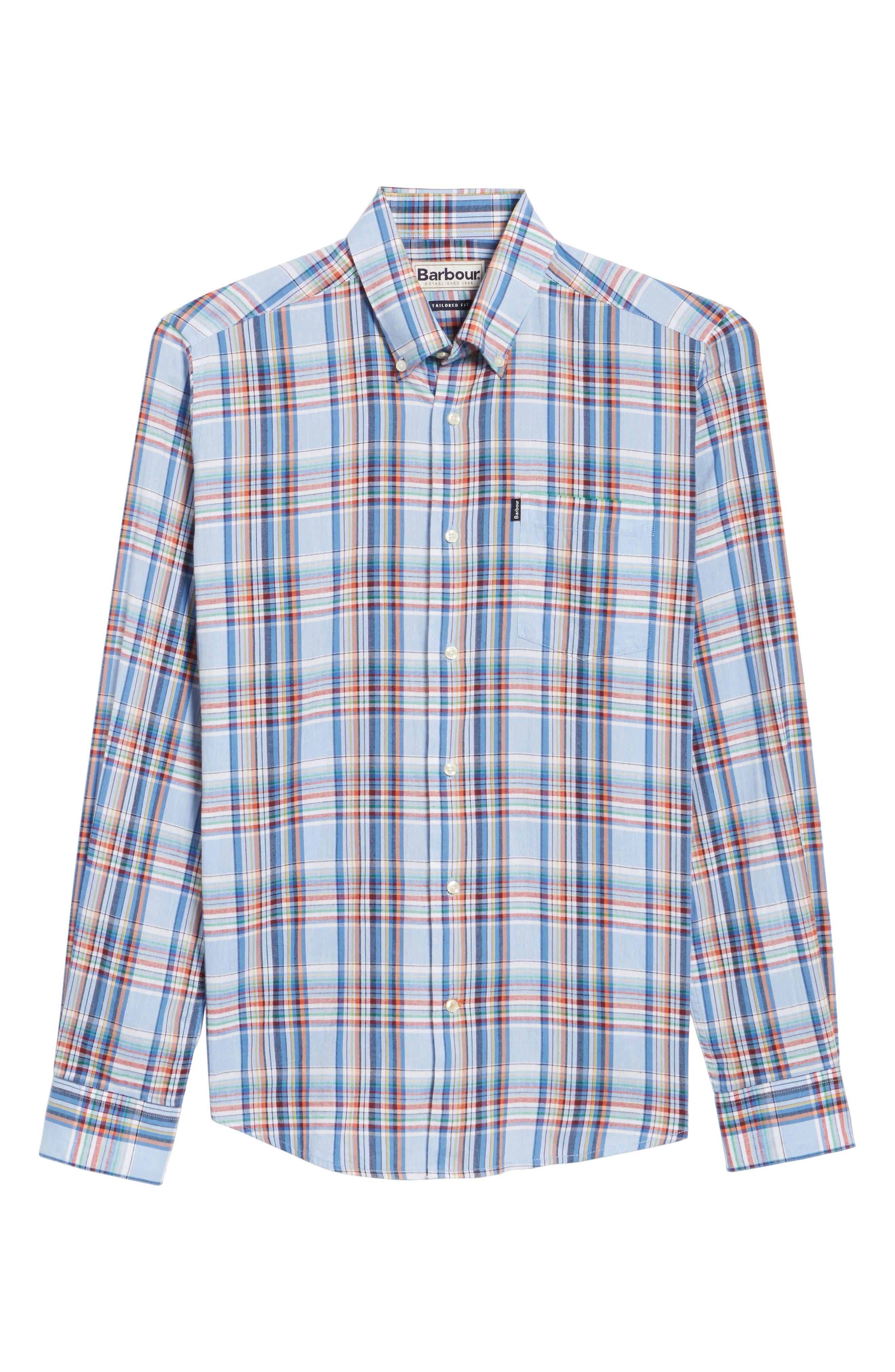 Bram Trim Fit Plaid Sport Shirt,                             Alternate thumbnail 6, color,                             450