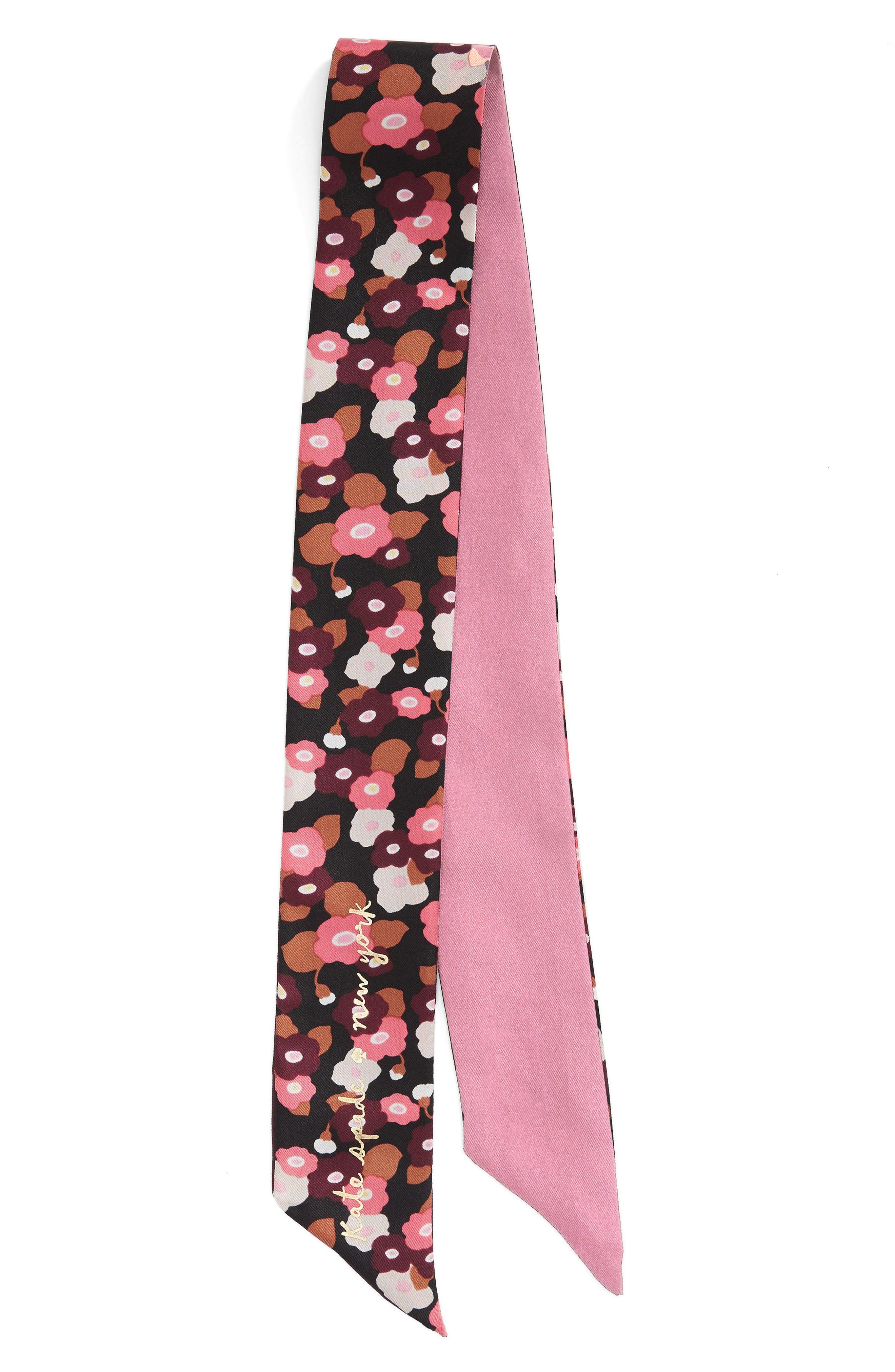 blooming silk skinny scarf,                             Alternate thumbnail 3, color,                             001