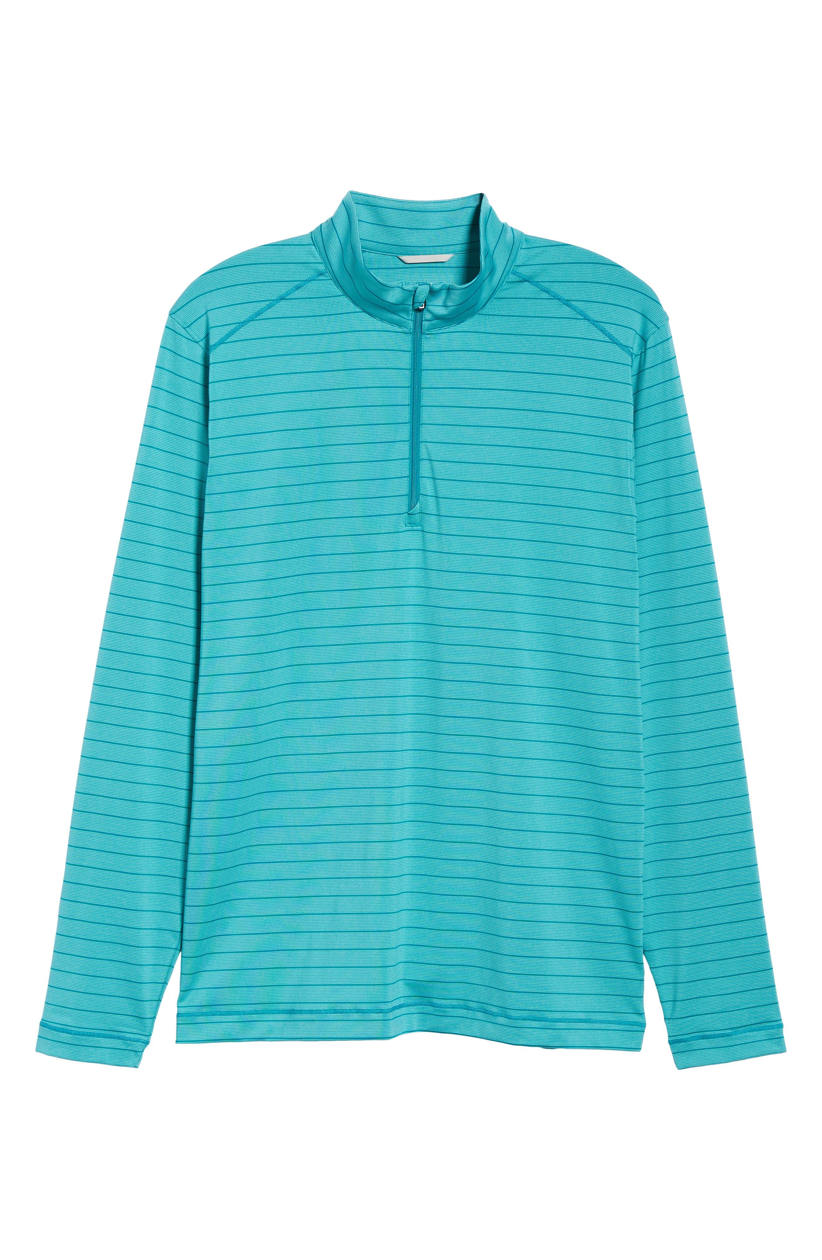 Holman Stripe Half Zip Pullover,                             Alternate thumbnail 6, color,                             AQUATIC HEATHER