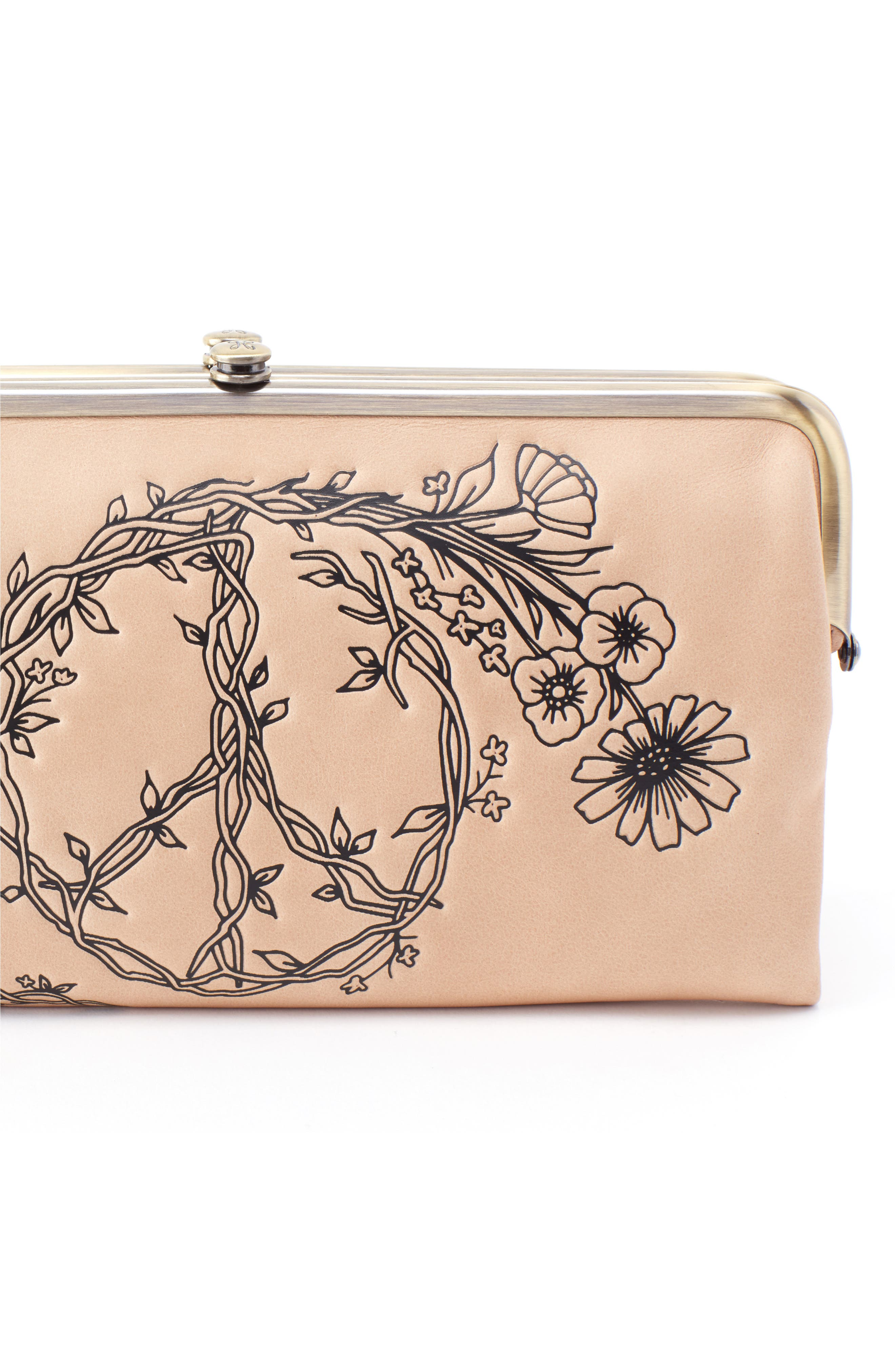HOBO,                             Lauren Floral Peace Leather Clutch,                             Alternate thumbnail 4, color,                             PARCHMENT