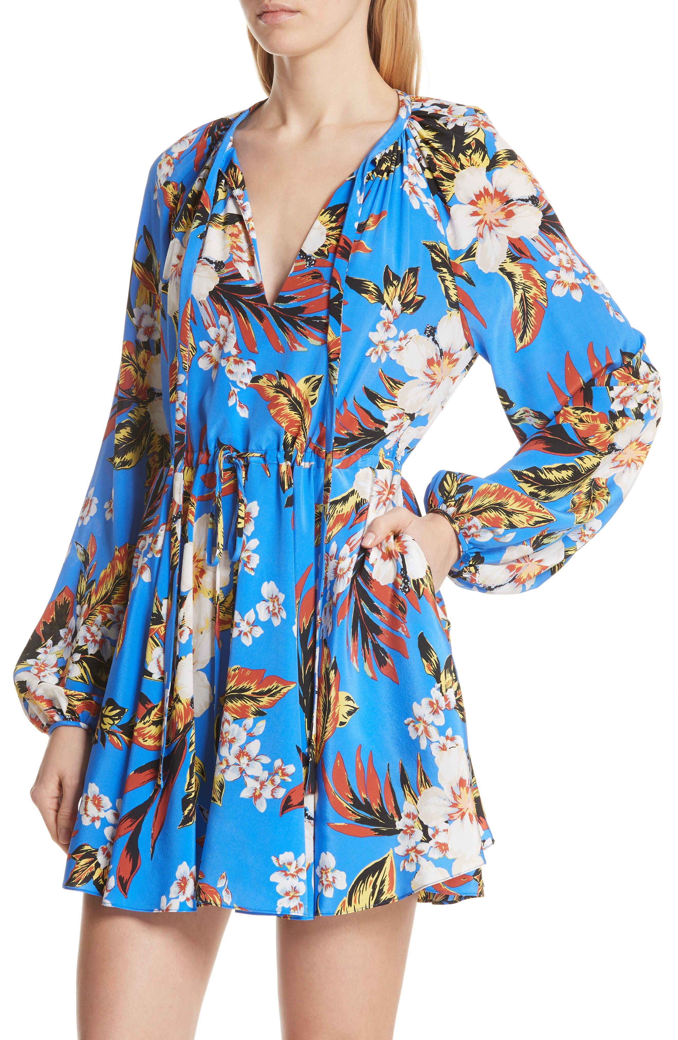 Tie Waist Floral Silk Dress,                             Alternate thumbnail 4, color,                             453
