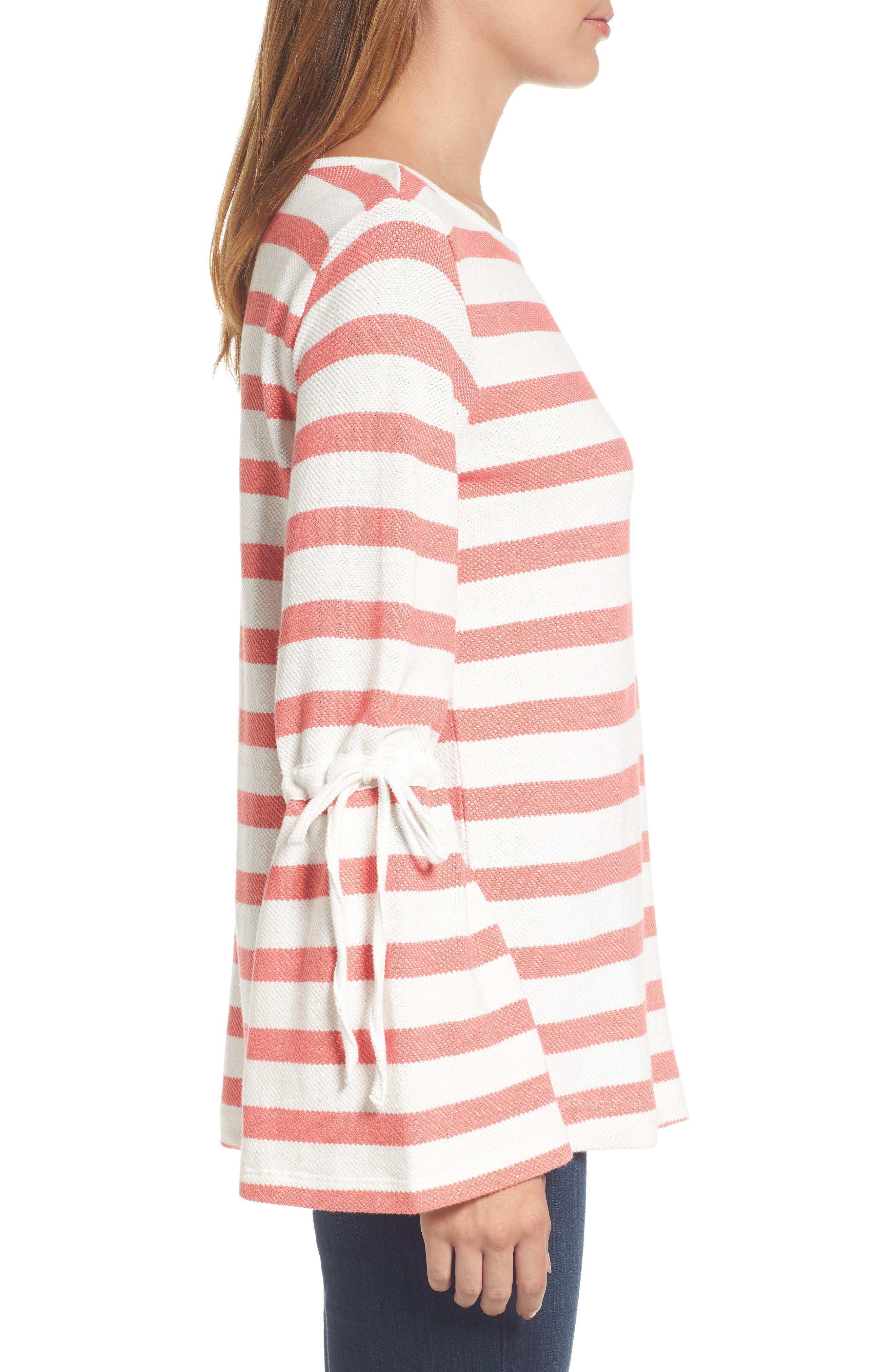 Stripe Bell Sleeve Top,                             Alternate thumbnail 6, color,