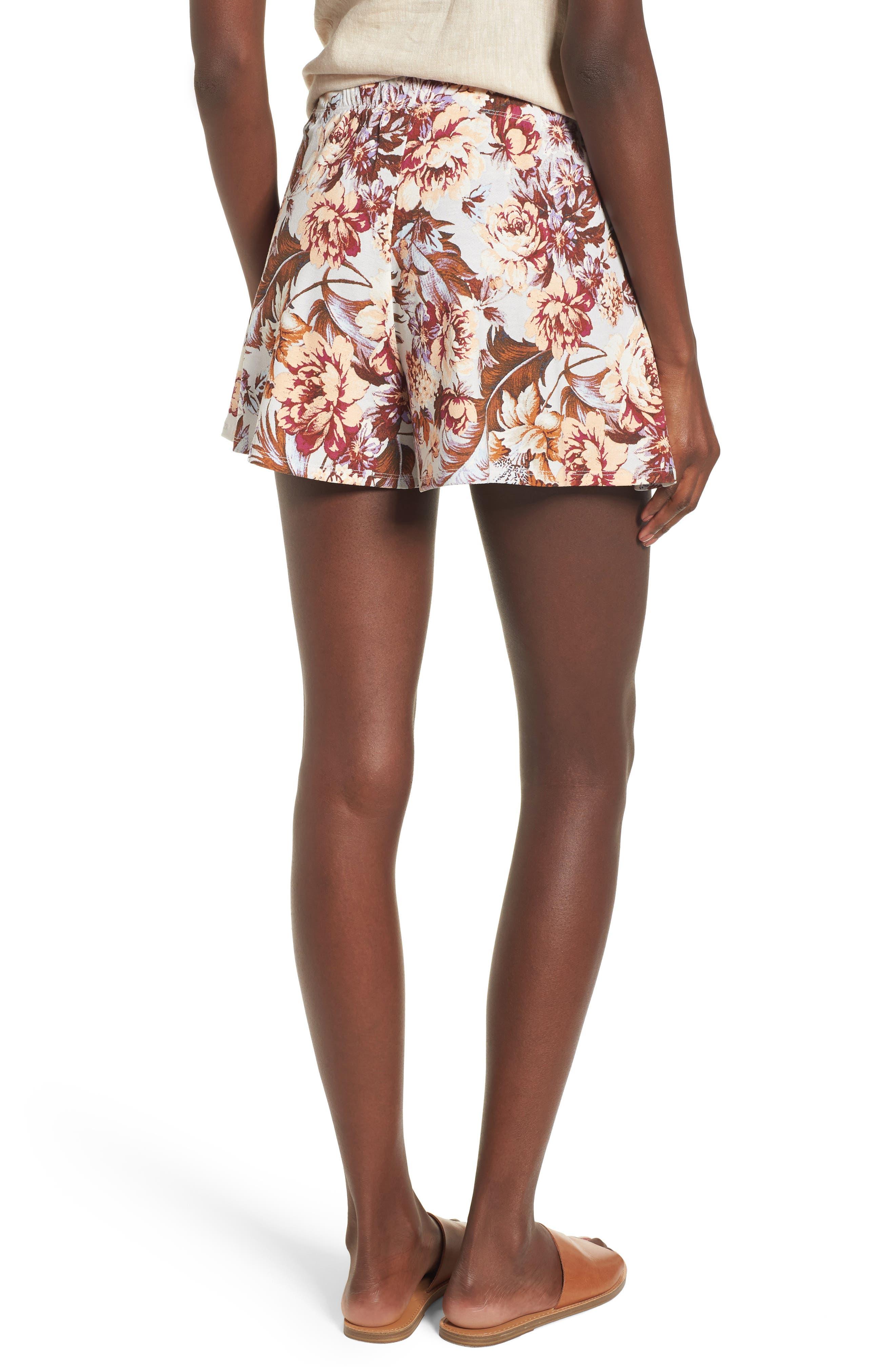 Print Tulip Hem Shorts,                             Alternate thumbnail 2, color,
