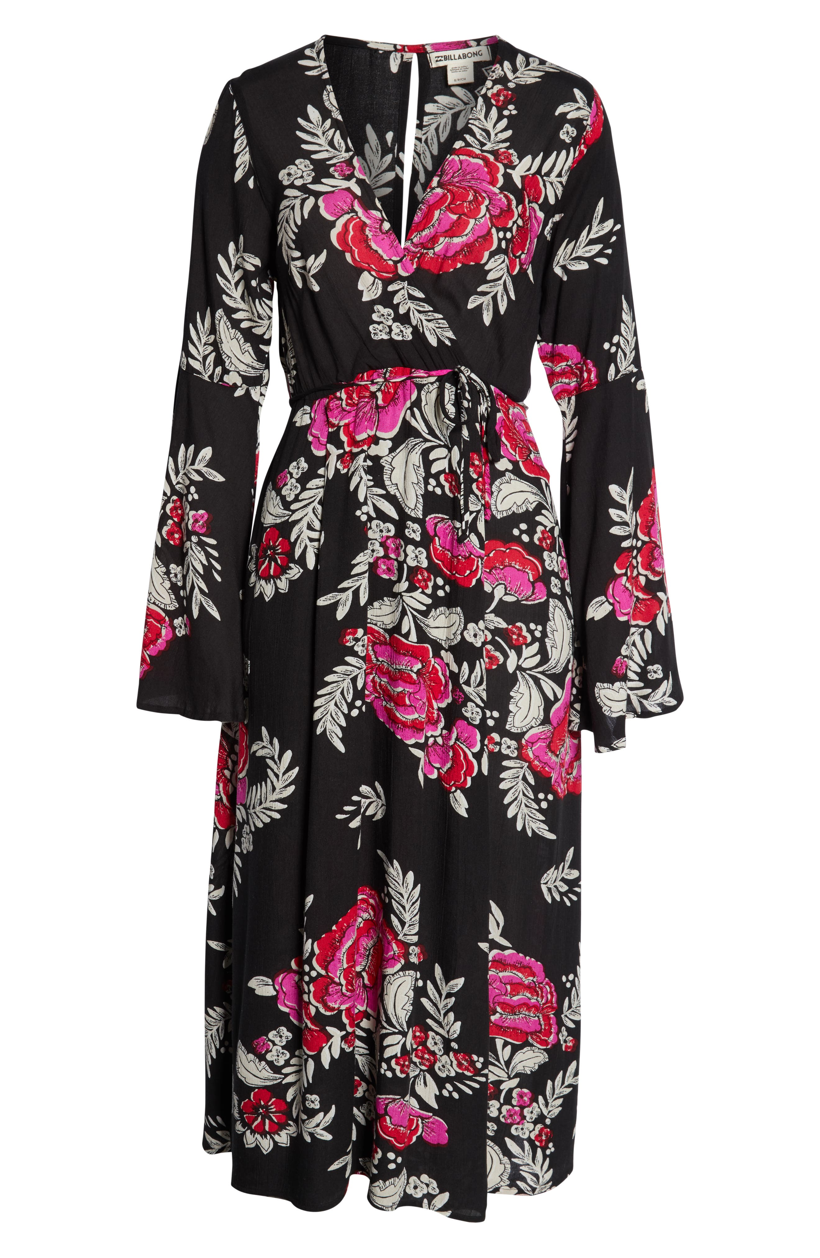 Floral Whispers Floral Midi Dress,                             Alternate thumbnail 3, color,                             001