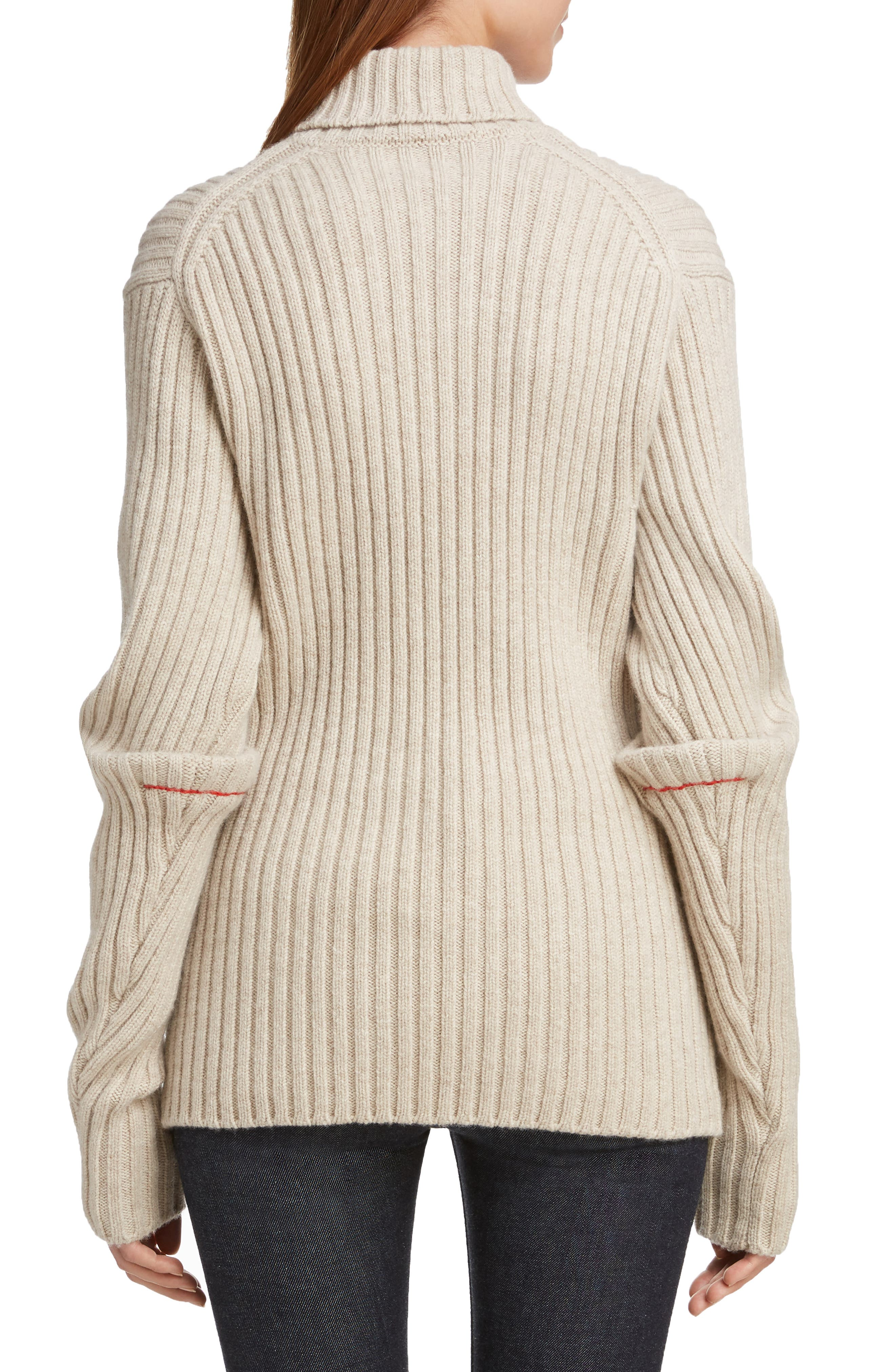Ribbed Wool Turtleneck Sweater,                             Alternate thumbnail 2, color,                             OATMEAL