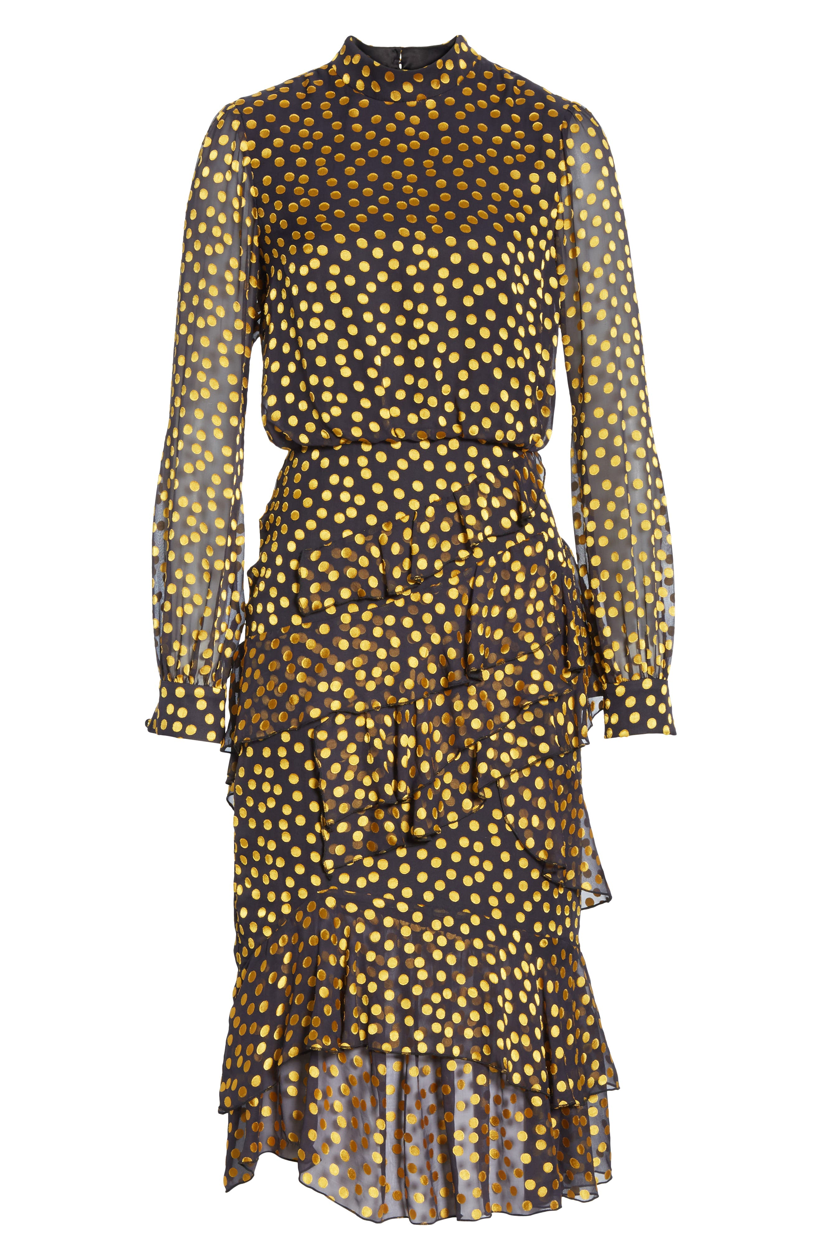 Isa Polka Dot Devoré Satin Dress,                             Alternate thumbnail 6, color,                             BLACK/ YELLOW DOTS
