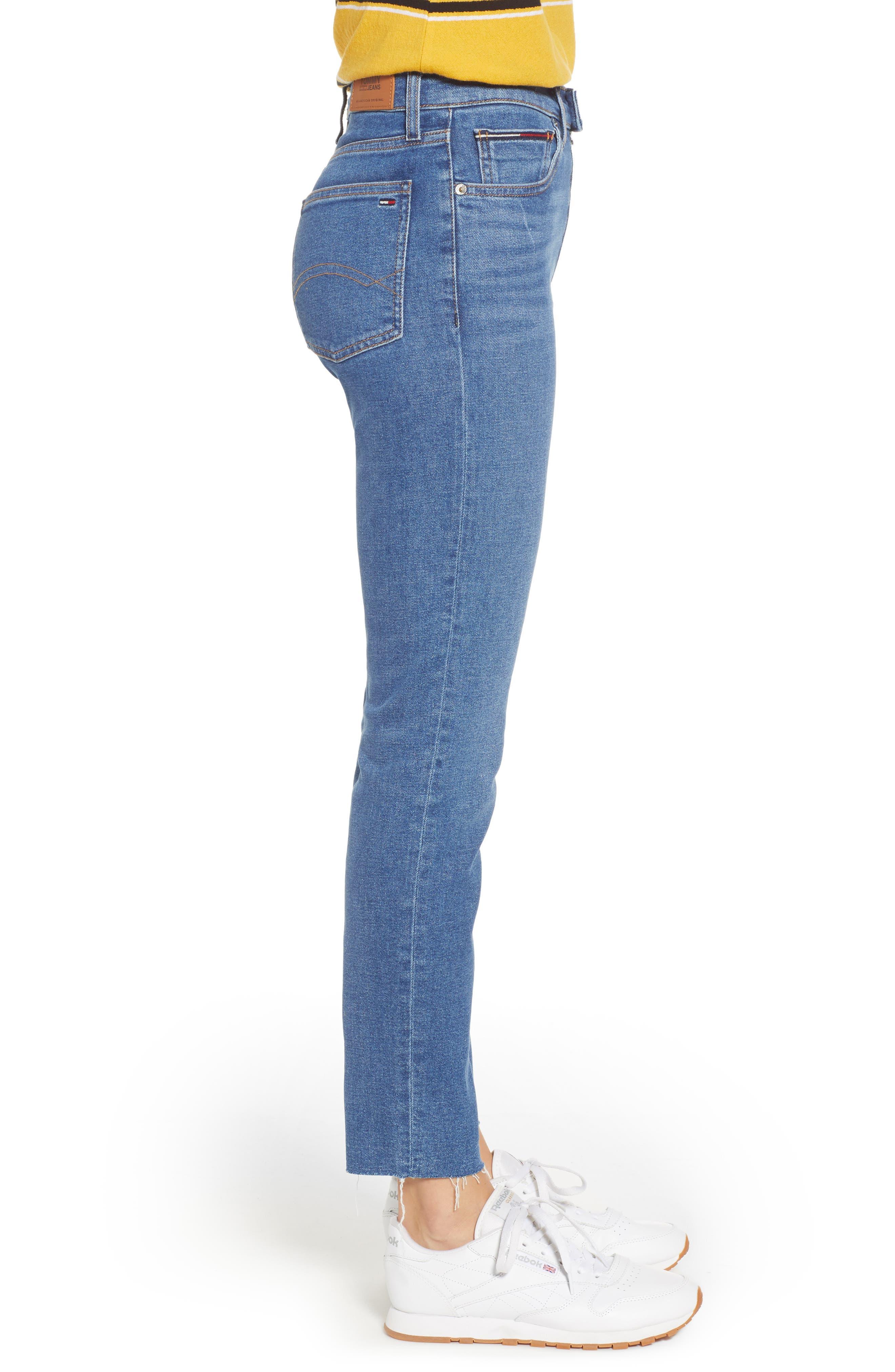 Izzy High Waist Slim Crop Jeans,                             Alternate thumbnail 3, color,                             400