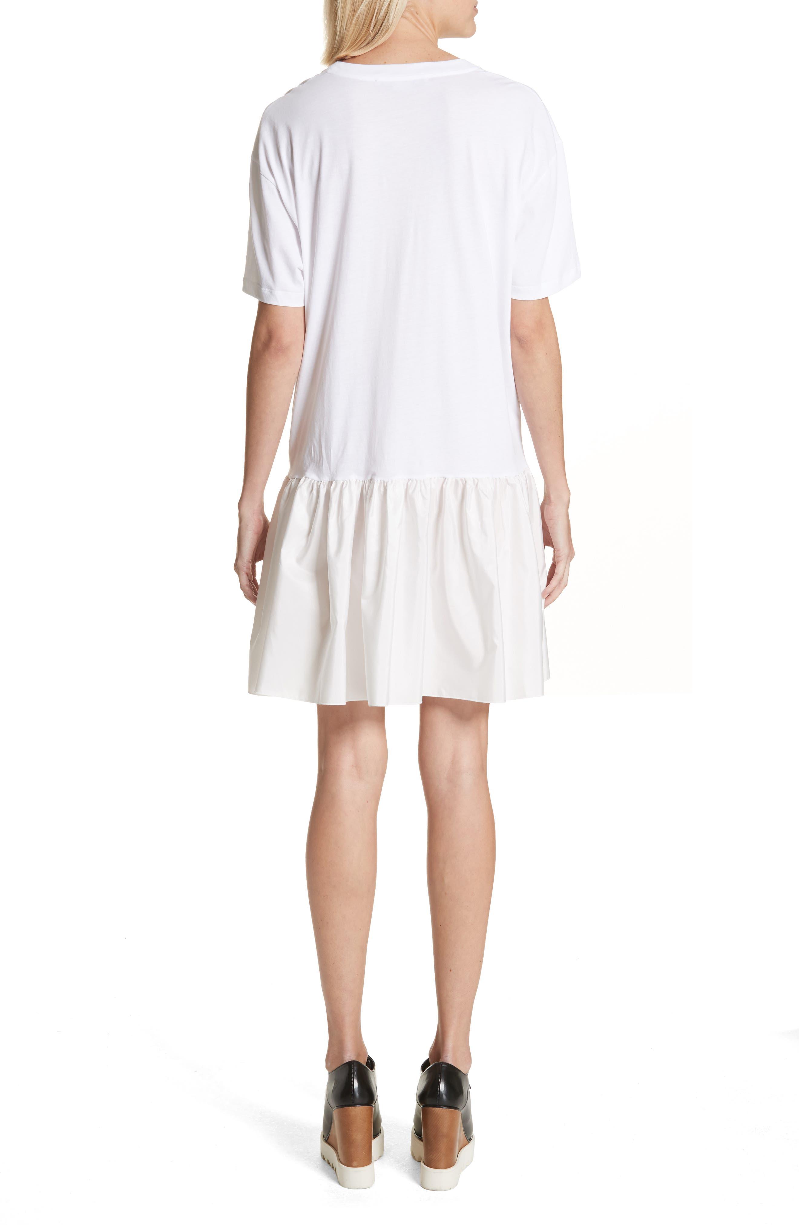 Drop Waist Taffeta Hem T-Shirt Dress,                             Alternate thumbnail 2, color,                             100