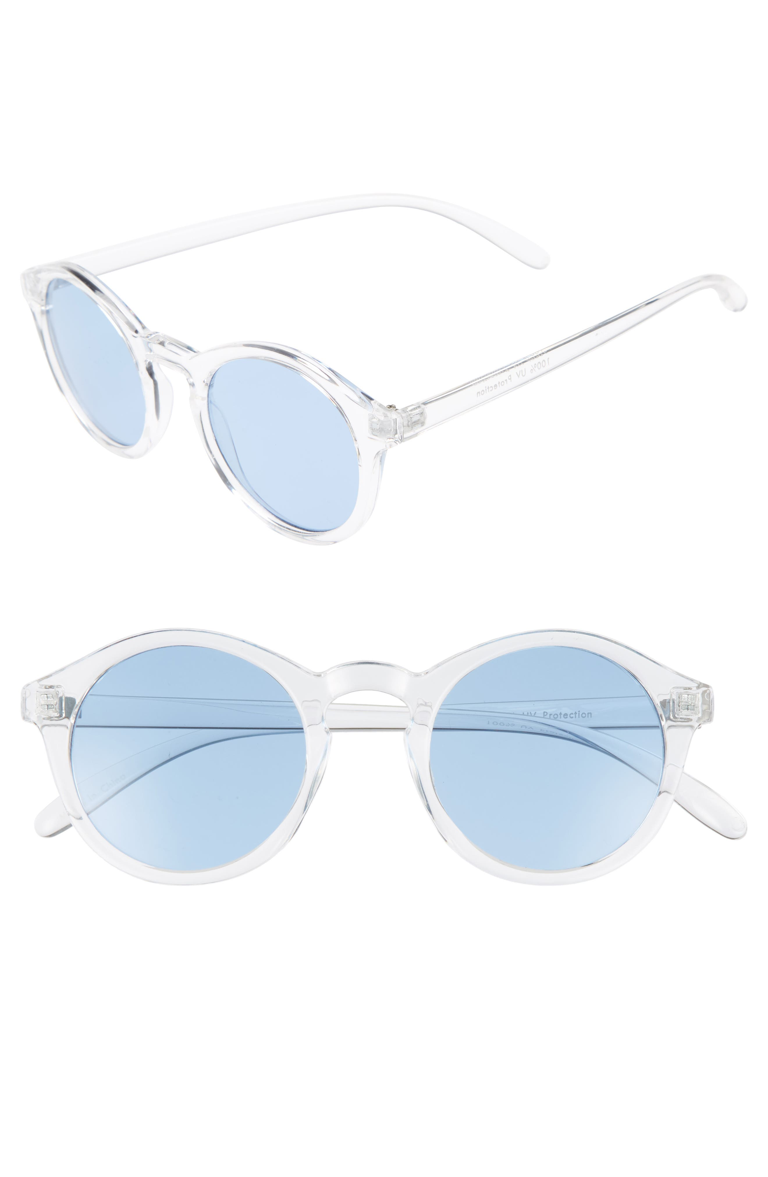45mm Clear Plastic Small Round Sunglasses,                         Main,                         color, 100