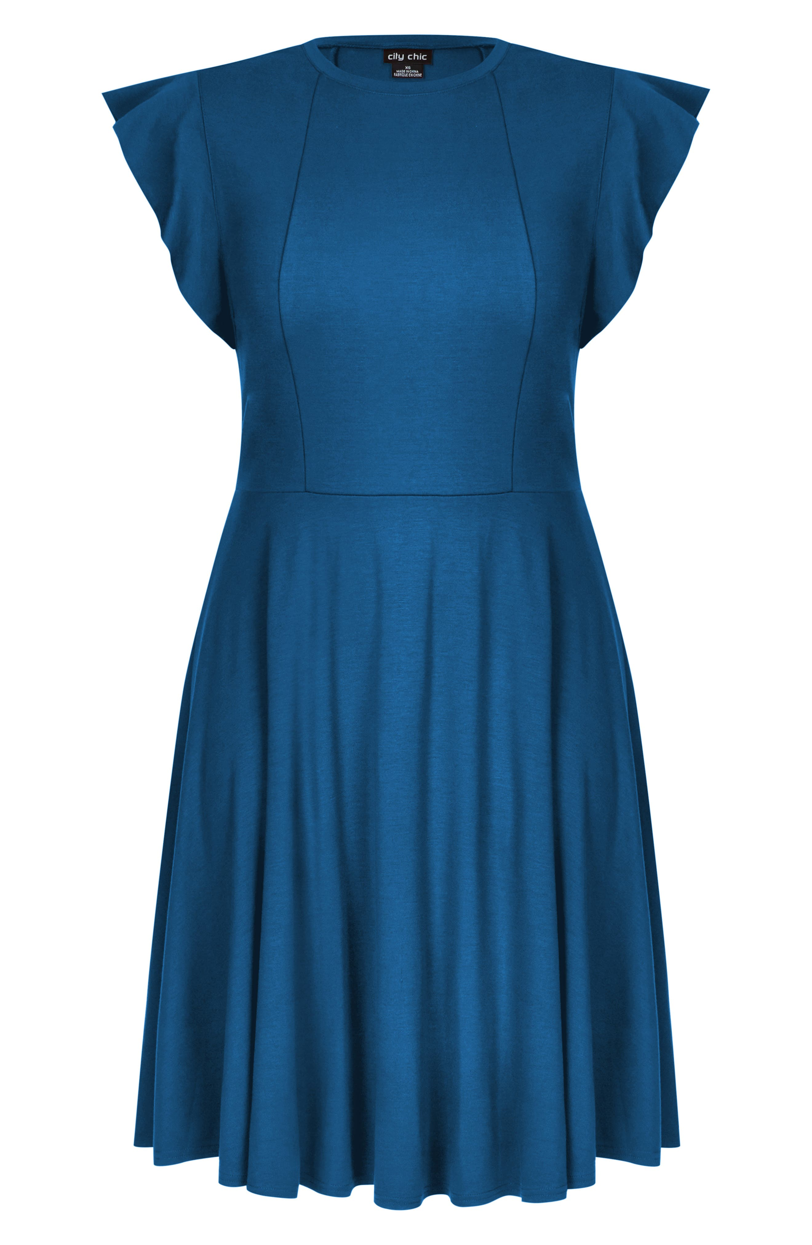 Frill Sleeve Fit & Flare Dress,                             Alternate thumbnail 3, color,                             TEAL