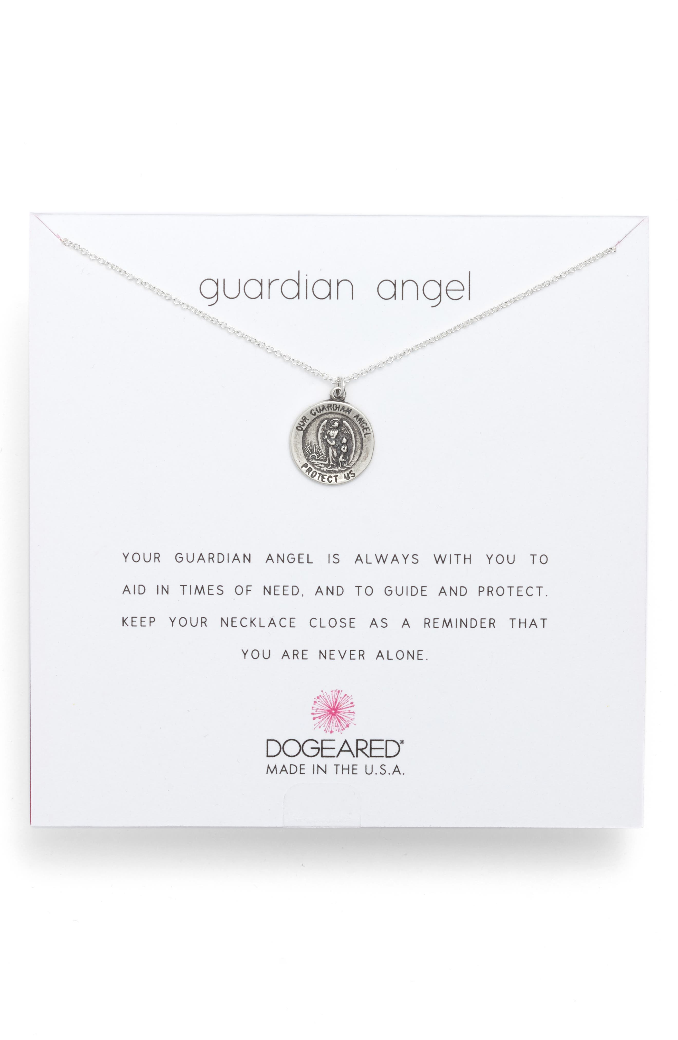 Dogeared GUARDIAN ANGEL COIN NECKLACE