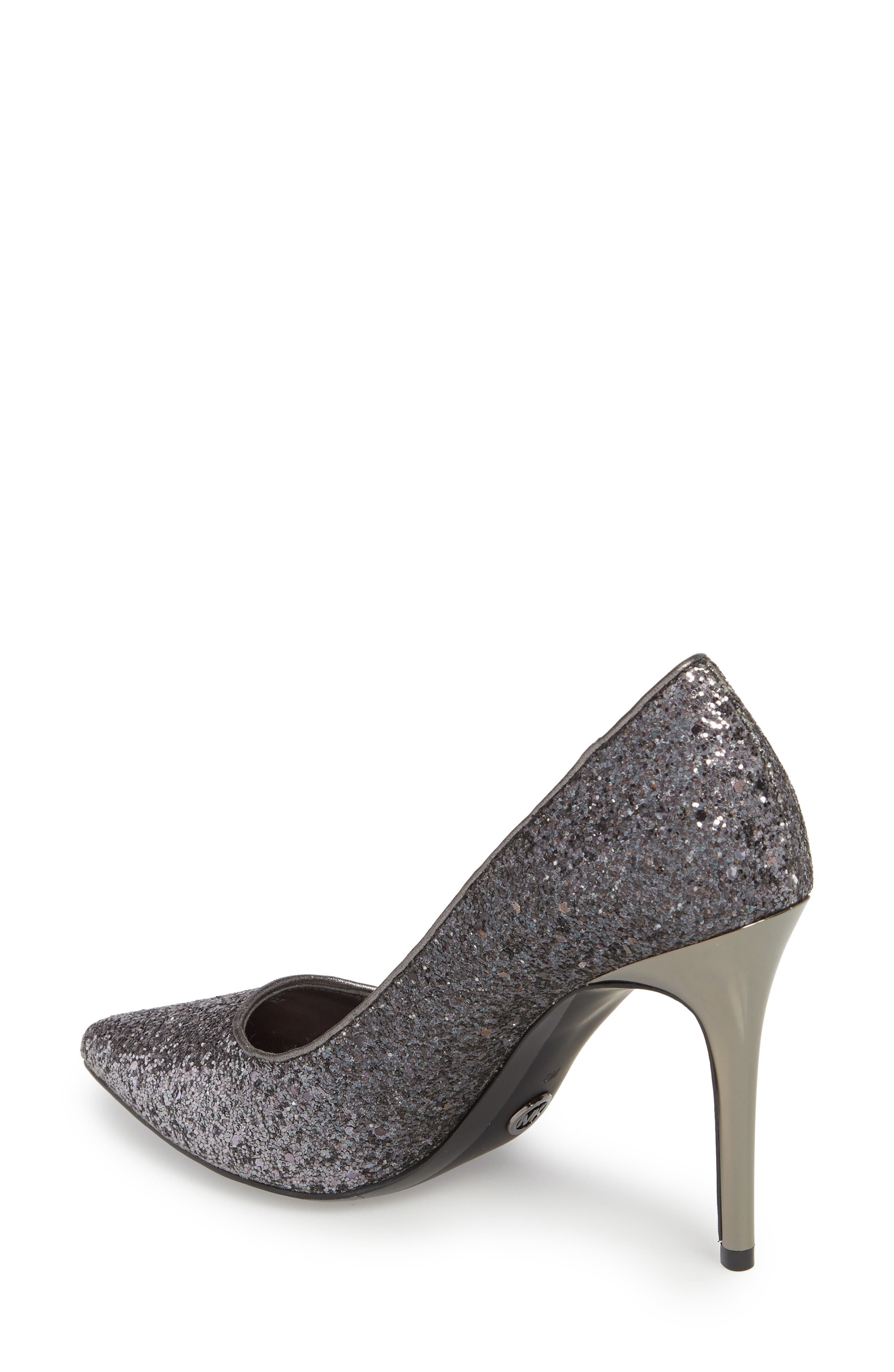 Claire Pointy Toe Pump,                             Alternate thumbnail 2, color,                             GUNMETAL GLITTER FABRIC