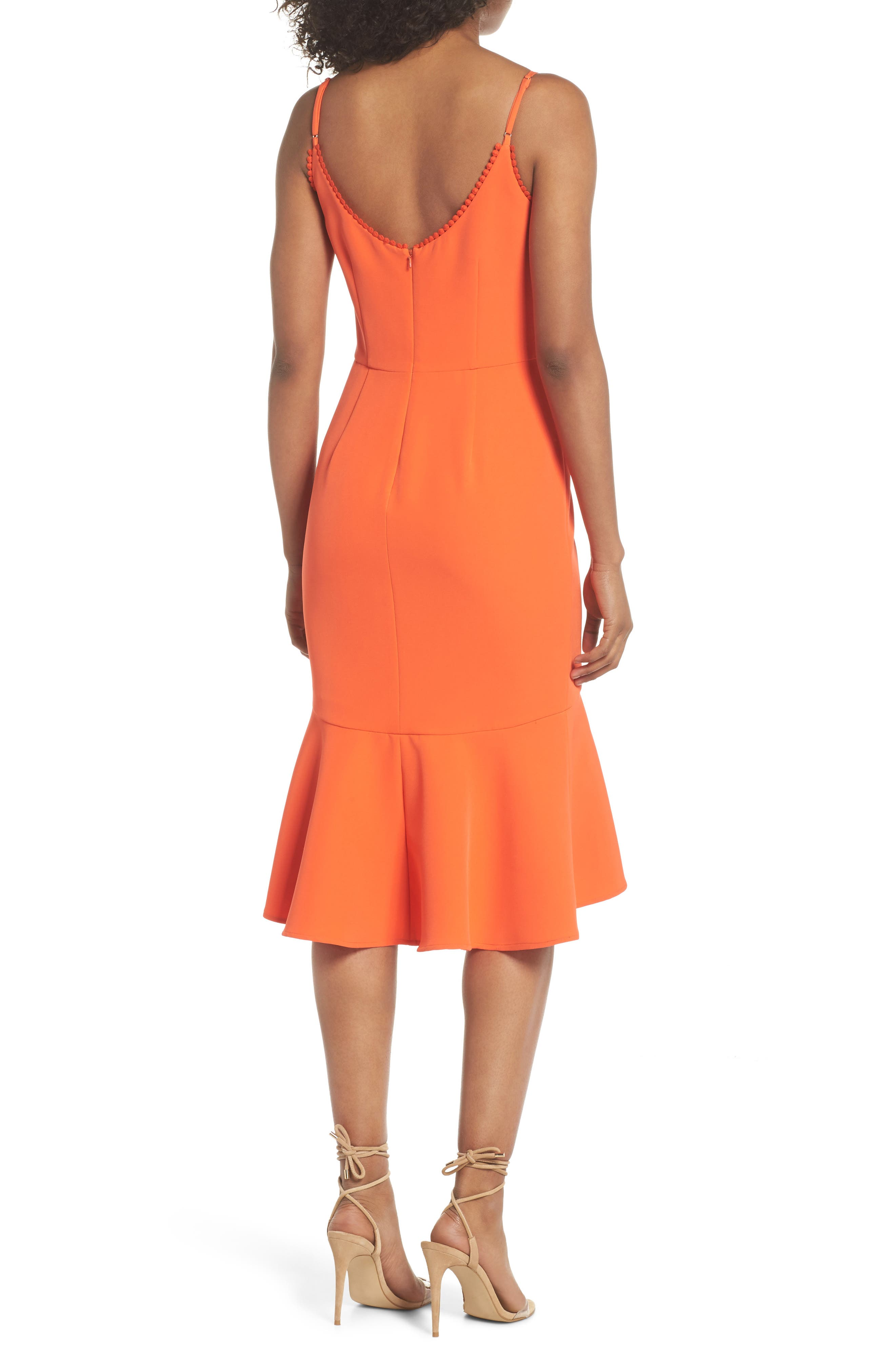 Flounce Hem Crepe Dress,                             Alternate thumbnail 2, color,