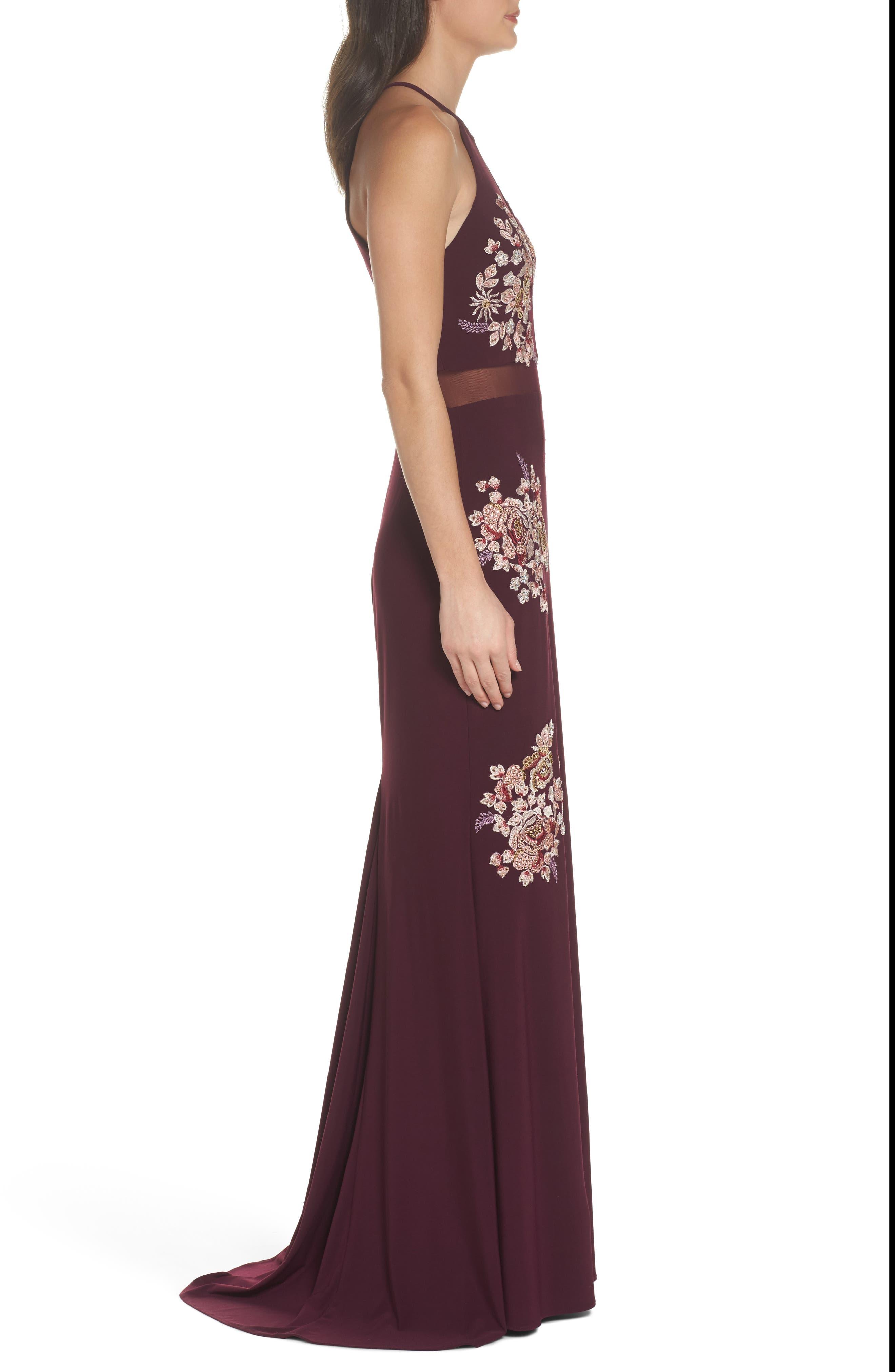 Embellished Floral Halter Gown,                             Alternate thumbnail 3, color,                             930