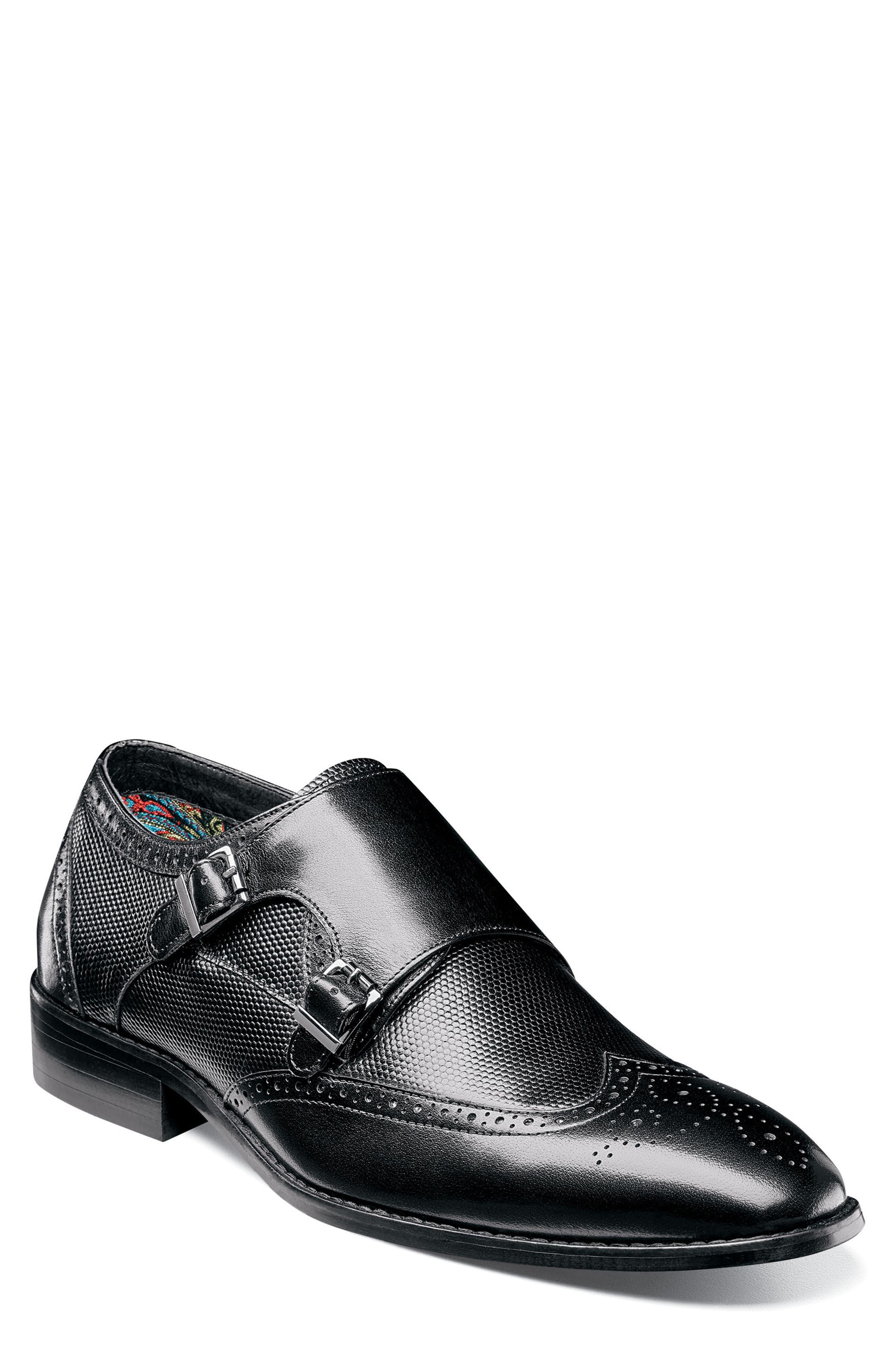Lavine Wingtip Monk Shoe,                         Main,                         color, BLACK LEATHER