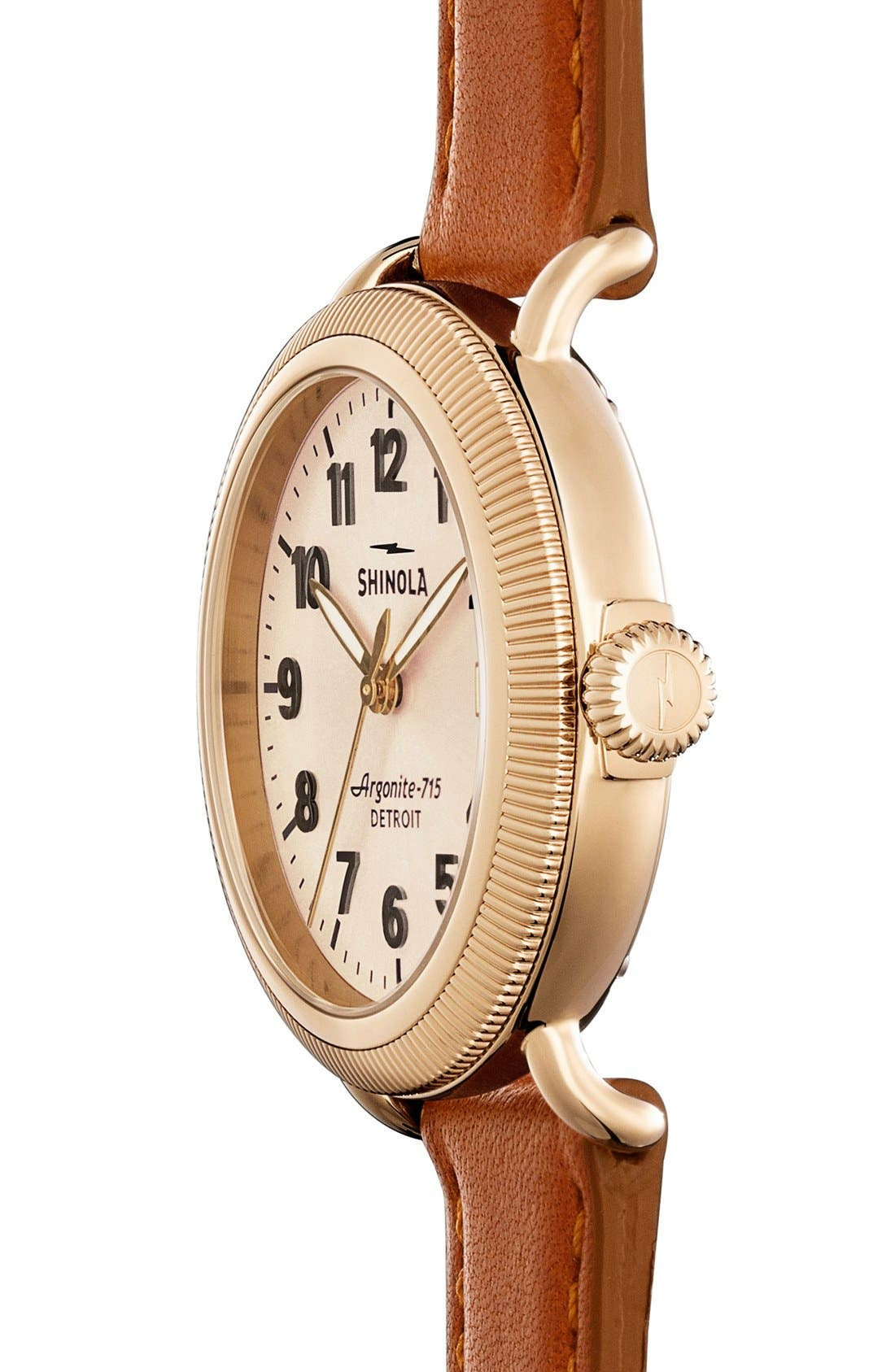 'The Runwell' Leather Strap Watch, 38mm,                             Alternate thumbnail 2, color,                             BOURBON/ GOLD