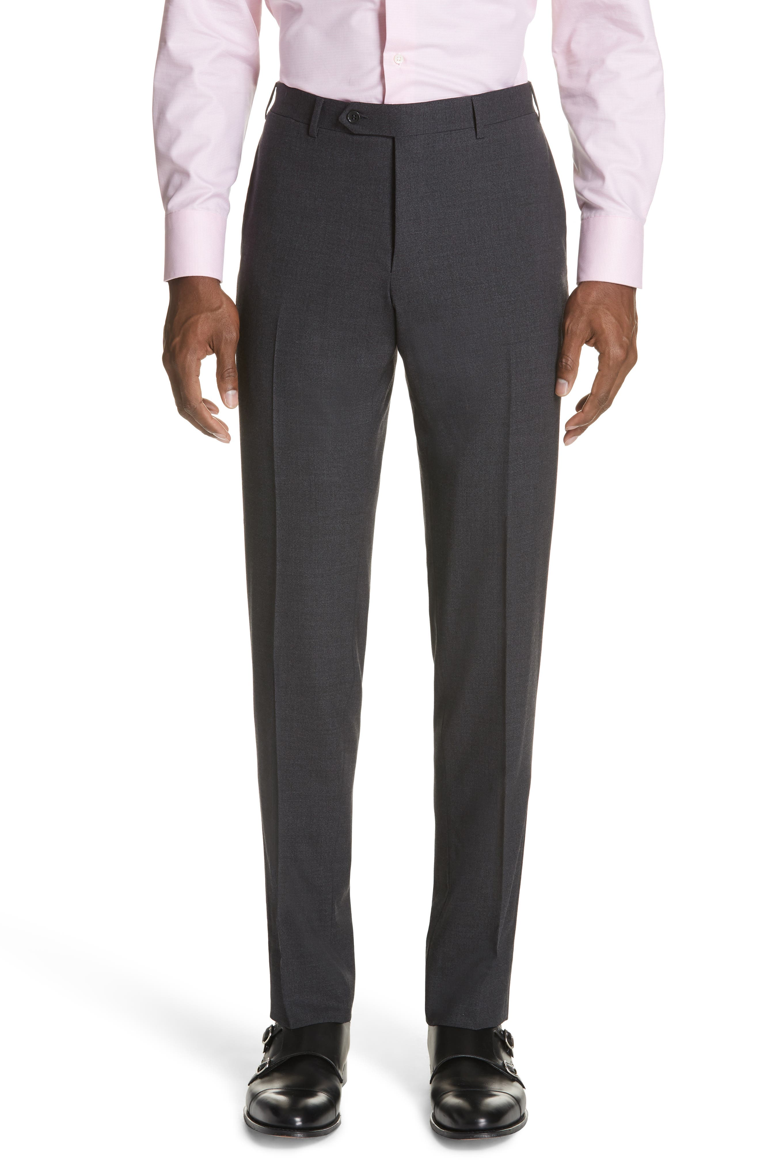 Classic Fit Stretch Solid Wool Suit,                             Alternate thumbnail 5, color,                             CHARCOAL