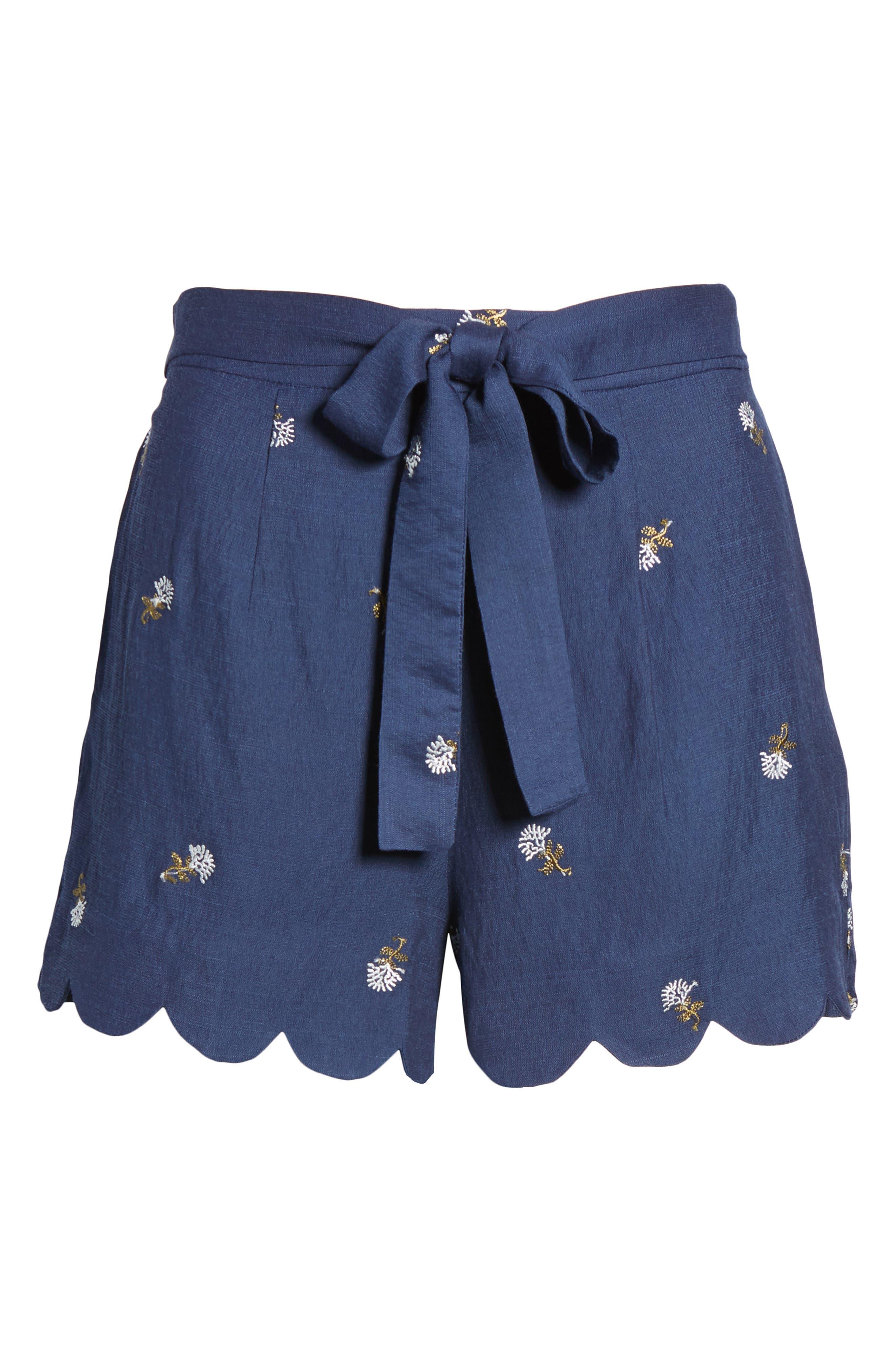 High Waist Scallop Hem Shorts,                             Alternate thumbnail 6, color,                             400