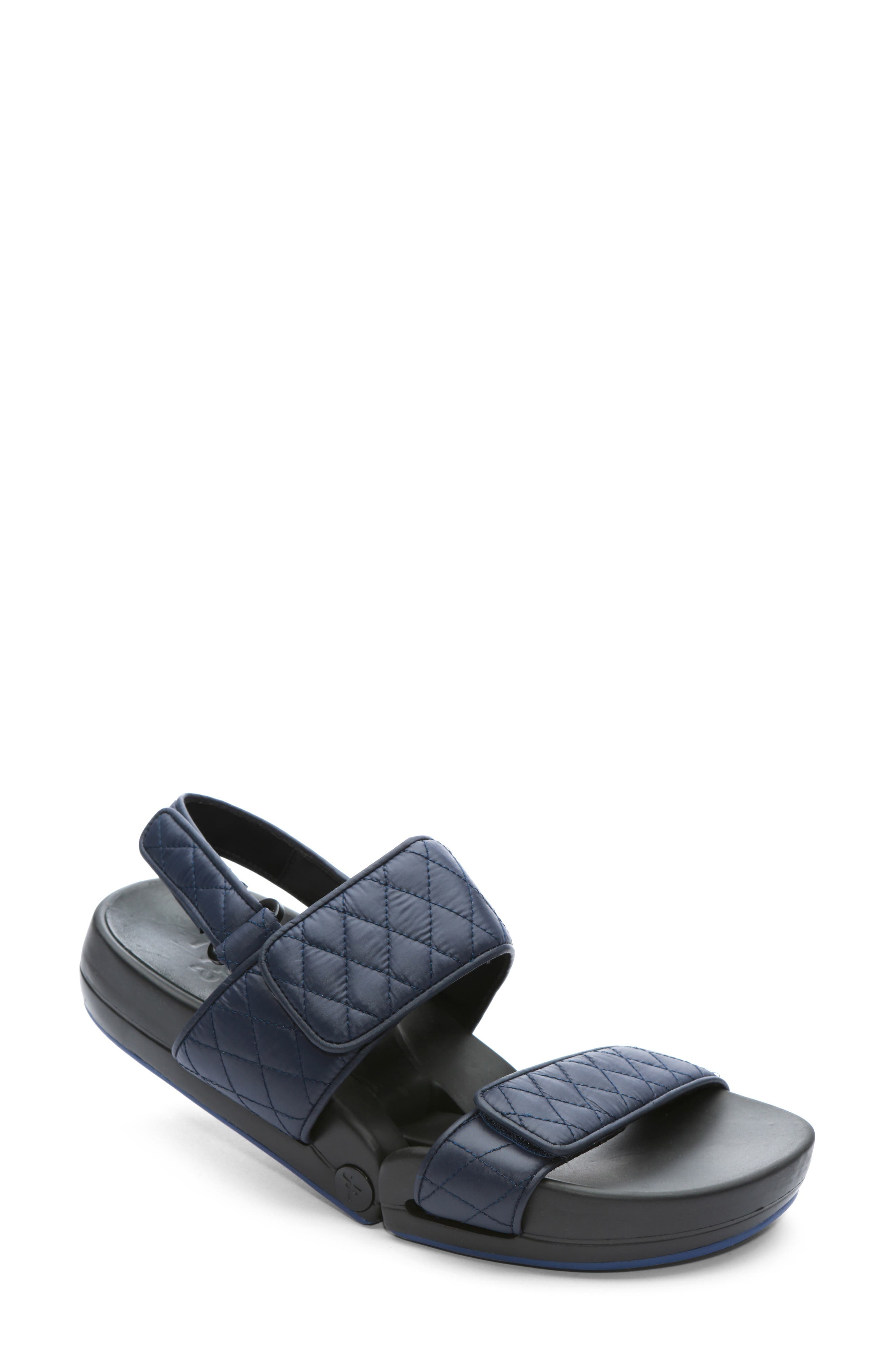 Figulous Quilted Sandal,                             Main thumbnail 1, color,                             NAVY FABRIC