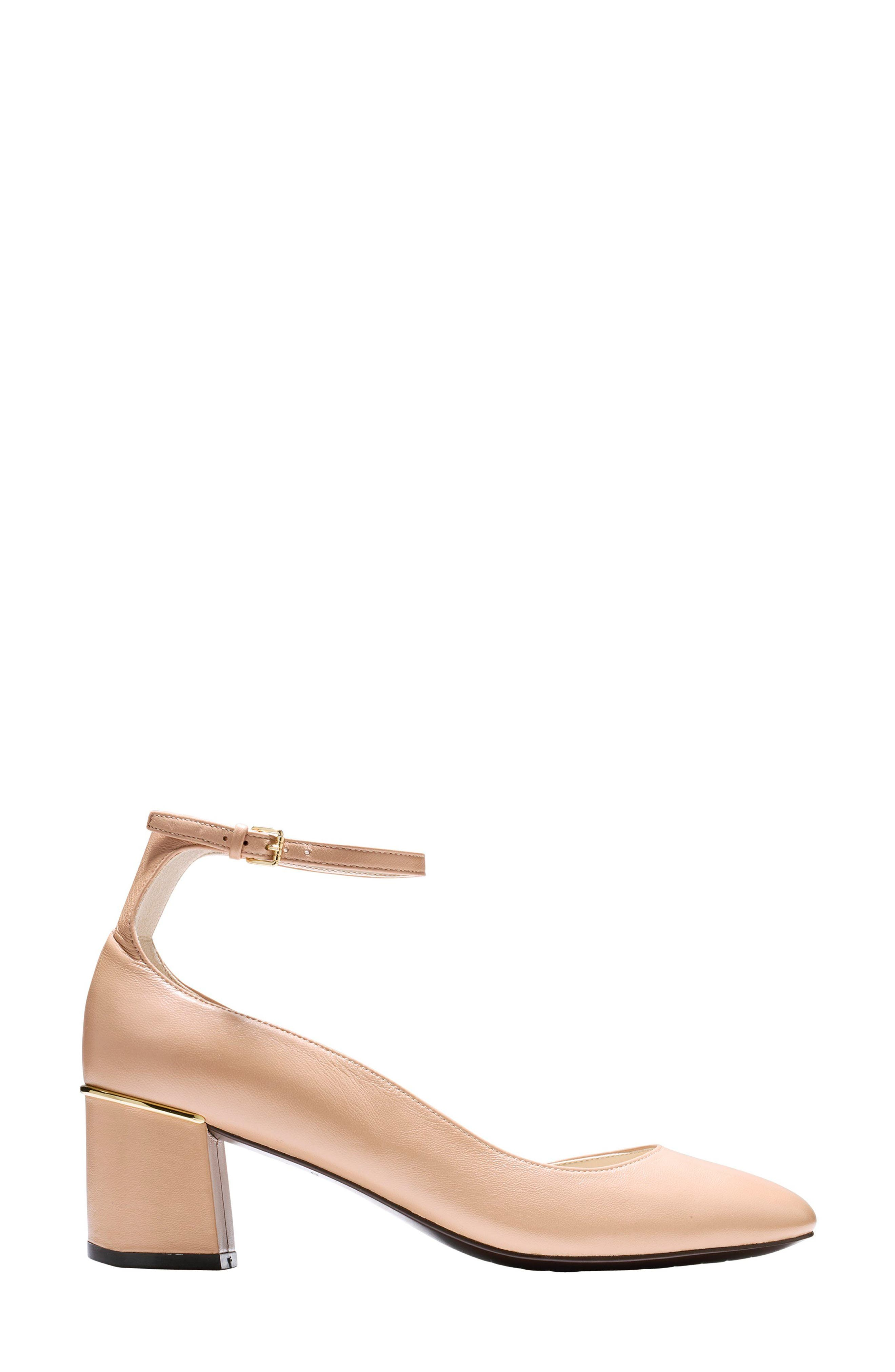 Warner Ankle Strap Pump,                             Alternate thumbnail 3, color,                             NUDE LEATHER