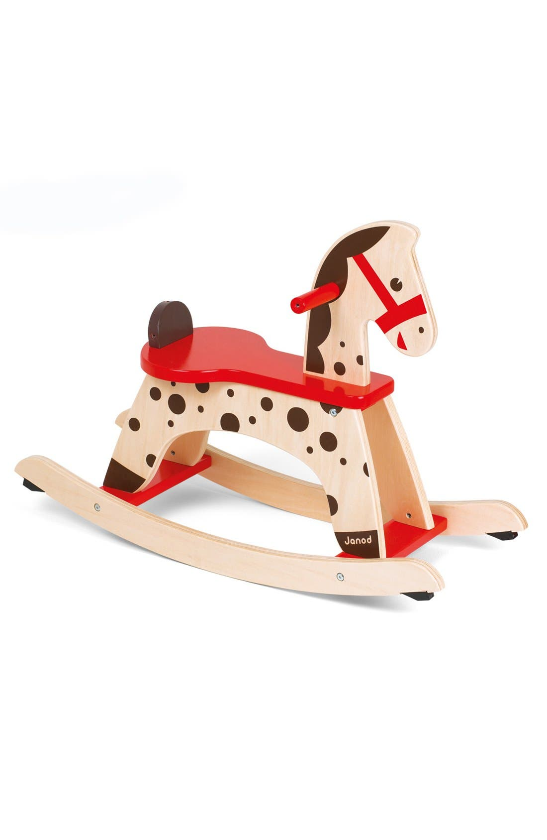 'Caramel' Wood Rocking Horse,                         Main,                         color, RED