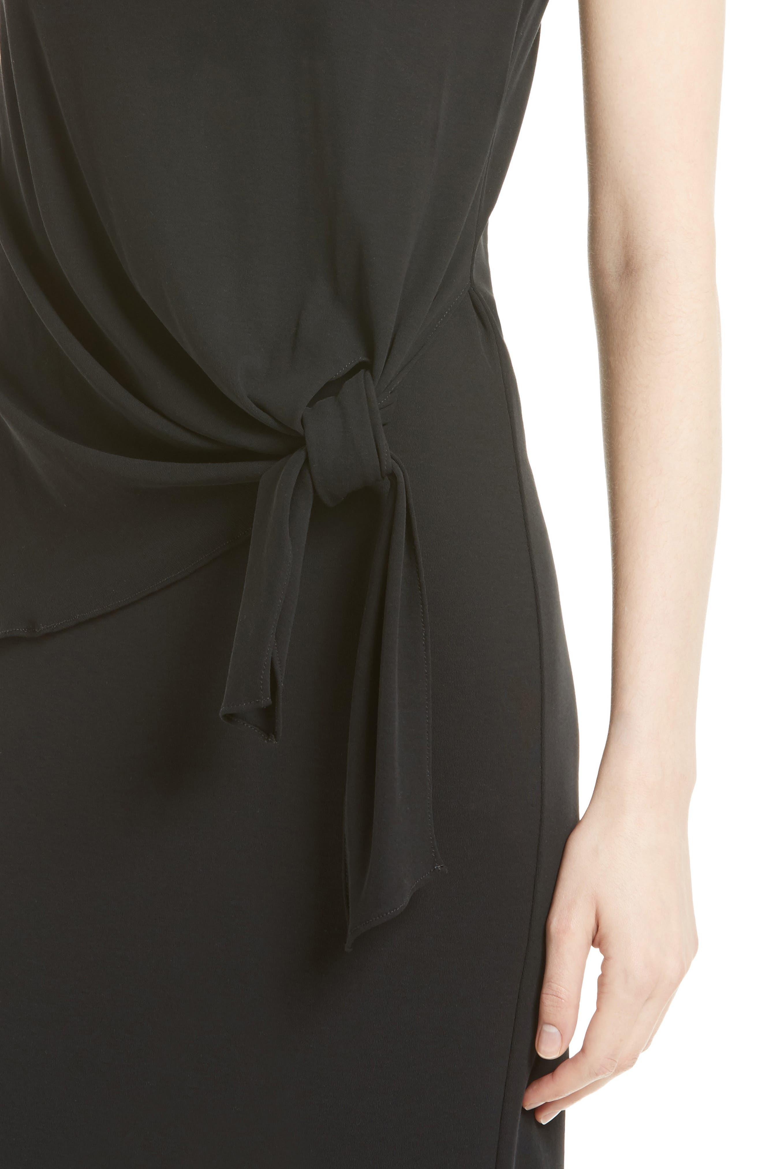 Dorotea K Tie Front Cotton Interlock Dress,                             Alternate thumbnail 4, color,                             001