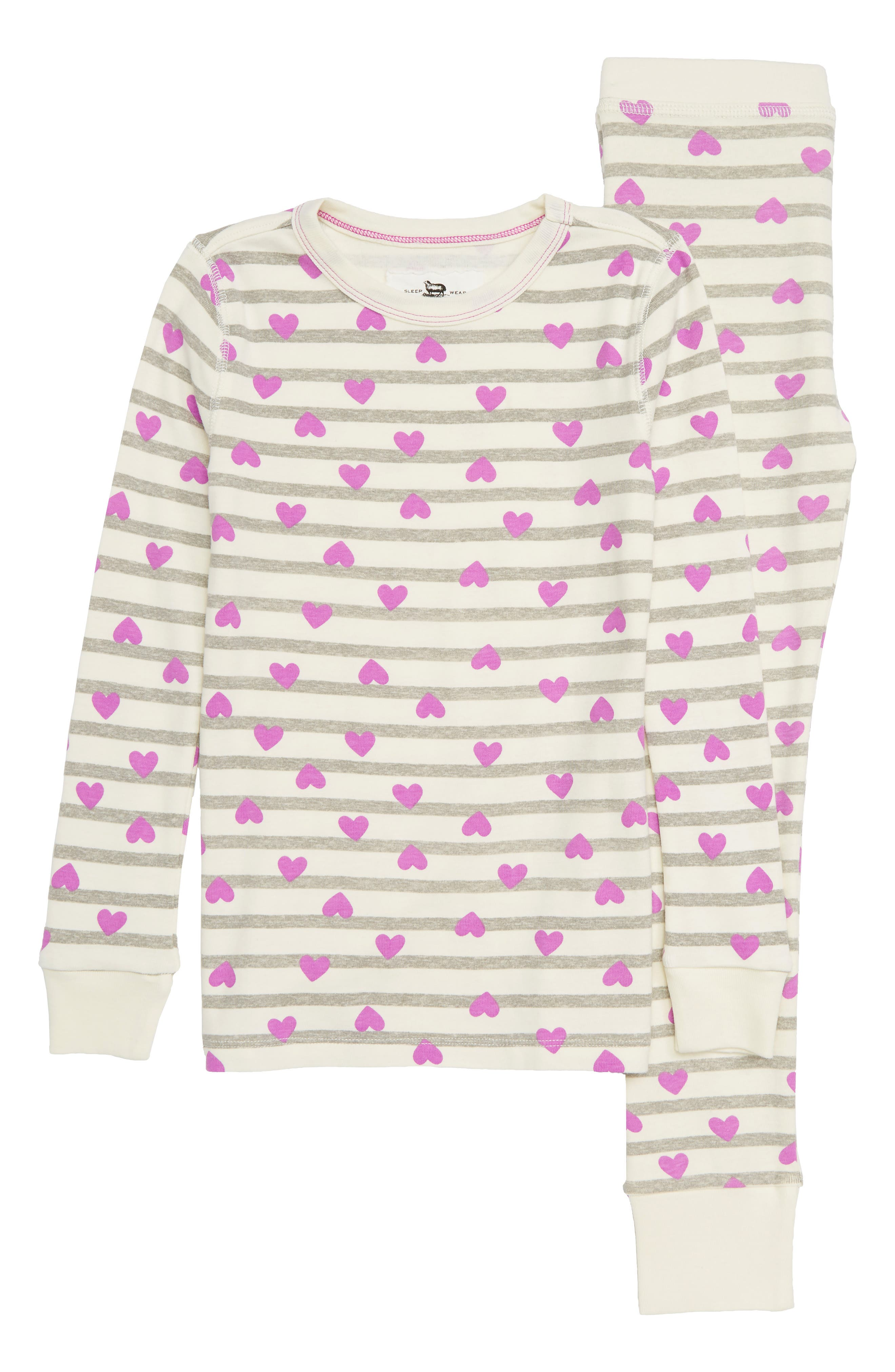 Hearts & Stripes Fitted Two-Piece Pajamas,                         Main,                         color,