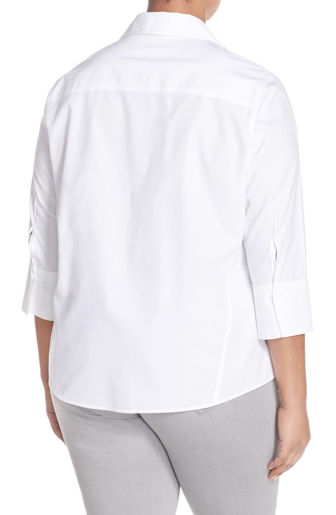 Paige Non-Iron Cotton Shirt,                             Alternate thumbnail 4, color,                             WHITE