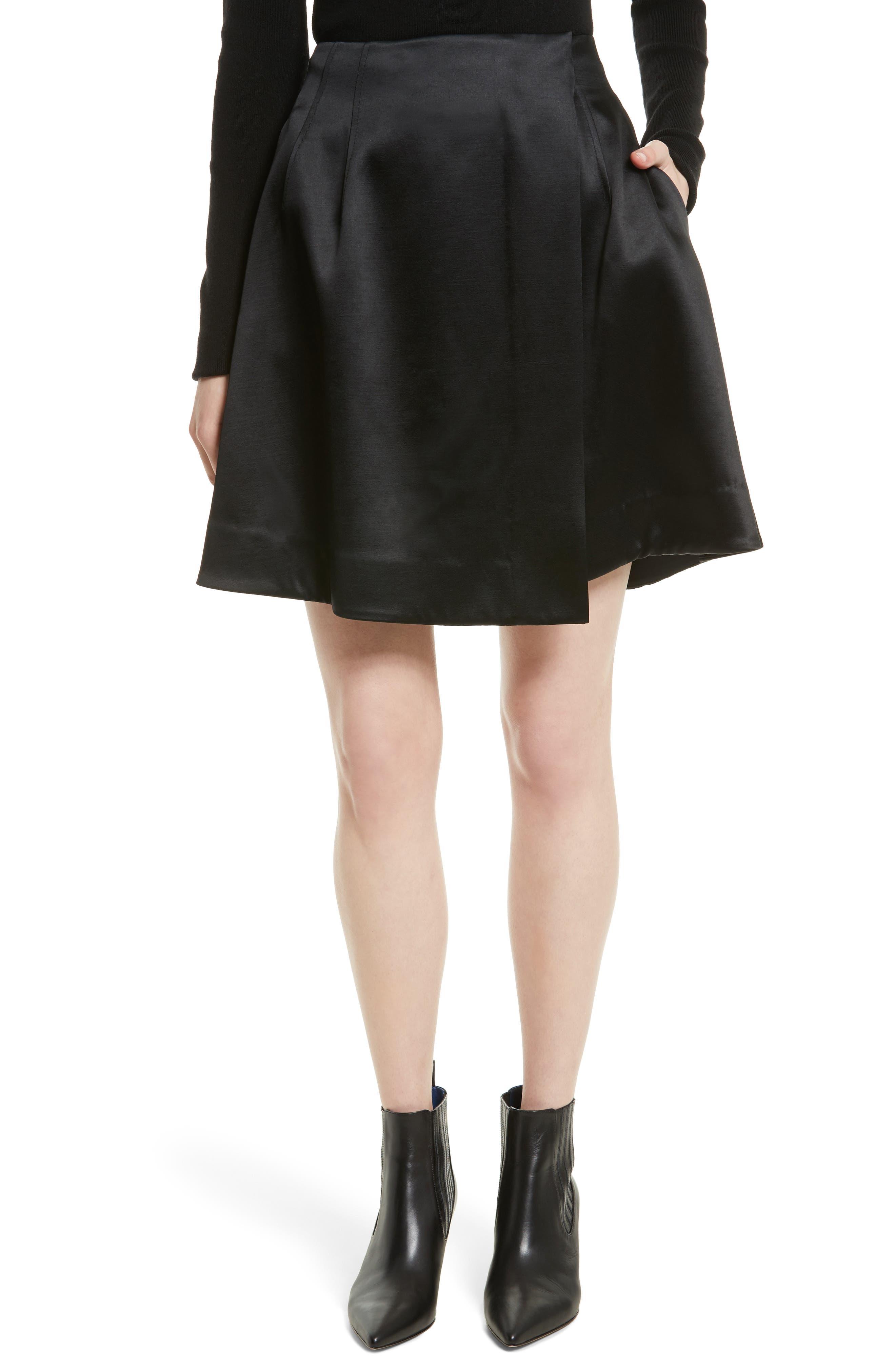 High Waist Flare Wrap Miniskirt,                             Main thumbnail 1, color,                             001