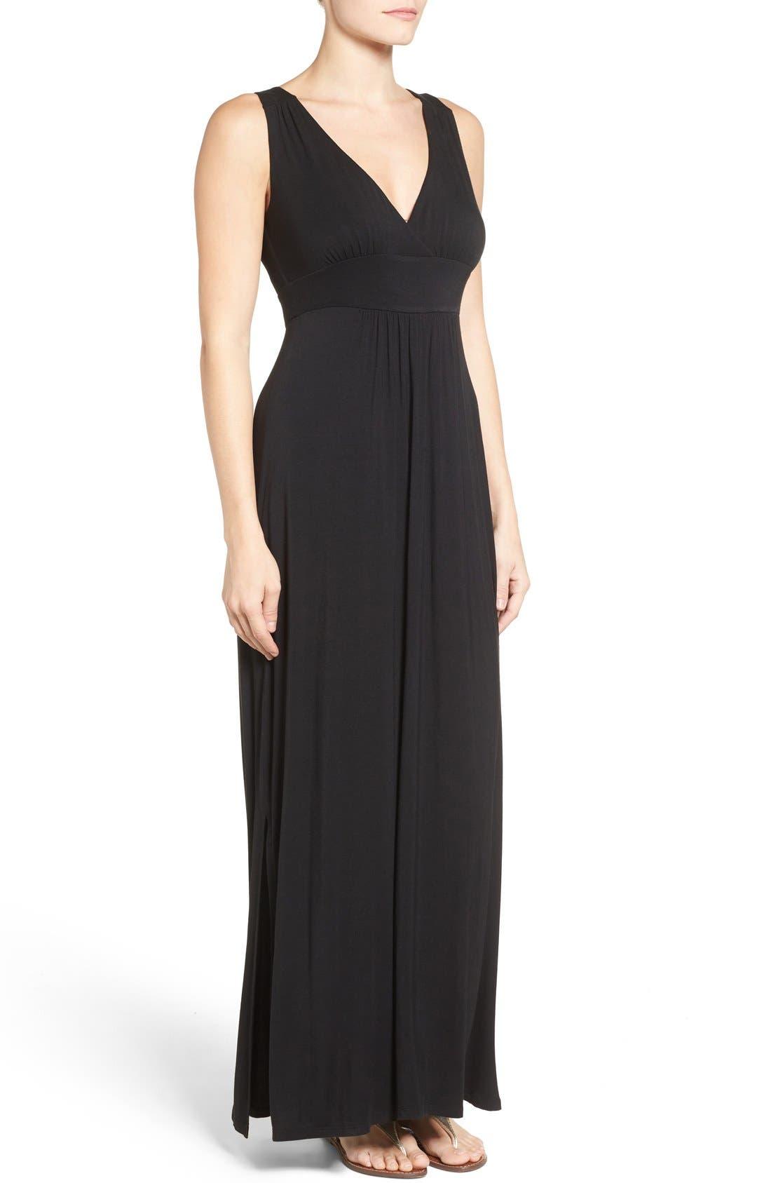 Knit Maxi Dress,                             Alternate thumbnail 8, color,                             001