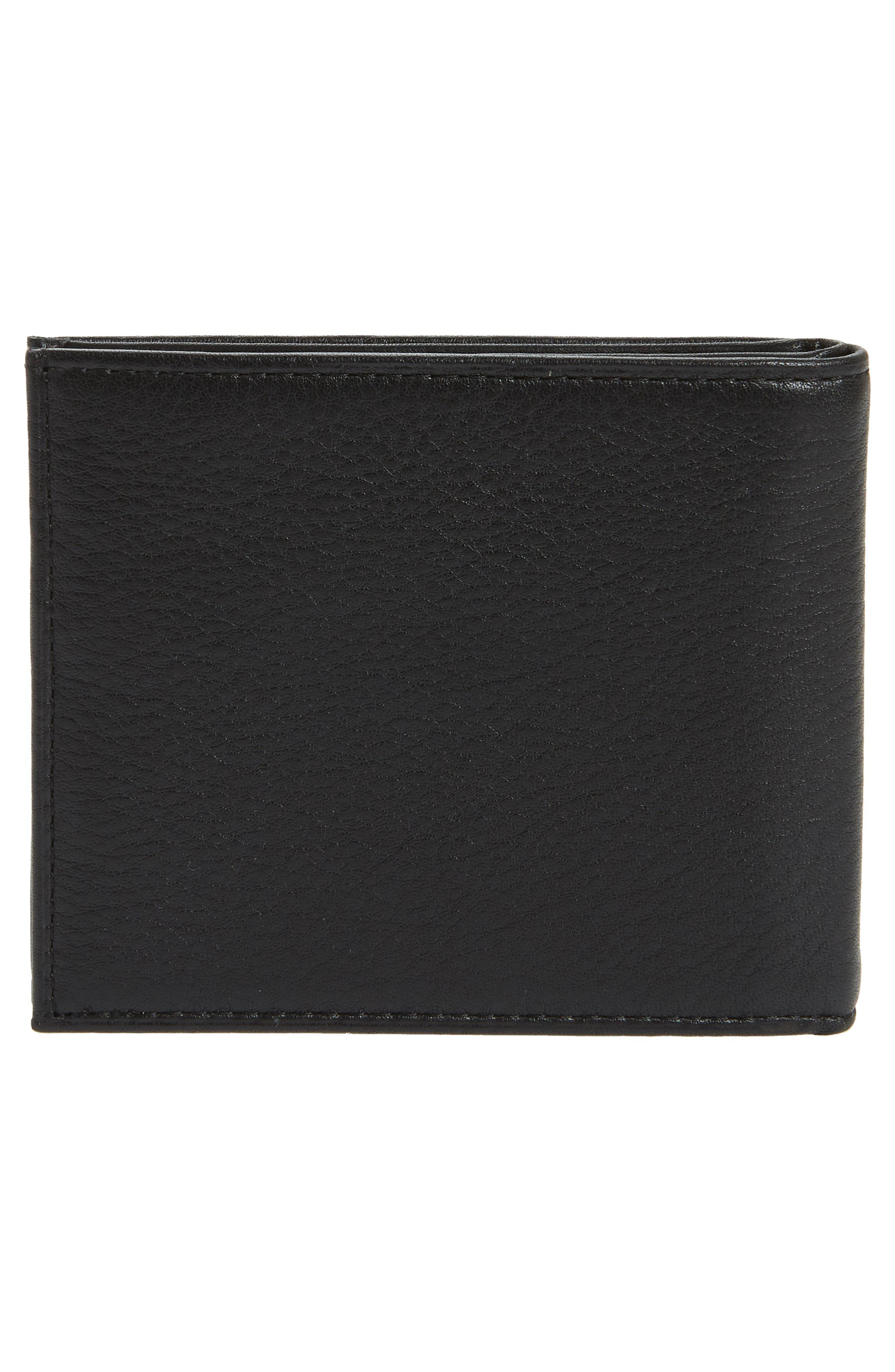 Bifold Leather Wallet,                             Alternate thumbnail 4, color,                             BLACK