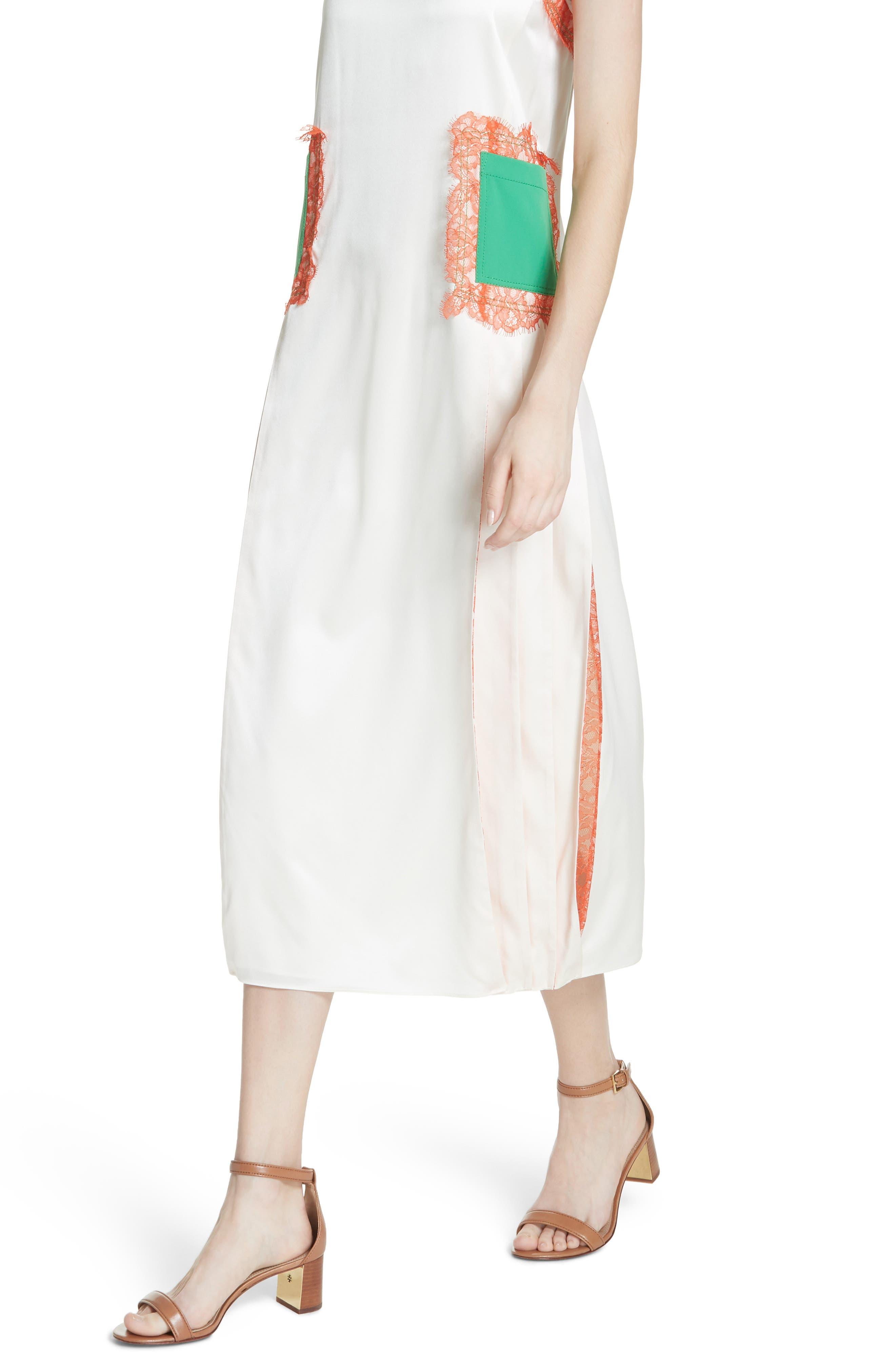 Claire Silk Midi Dress,                             Alternate thumbnail 4, color,                             104