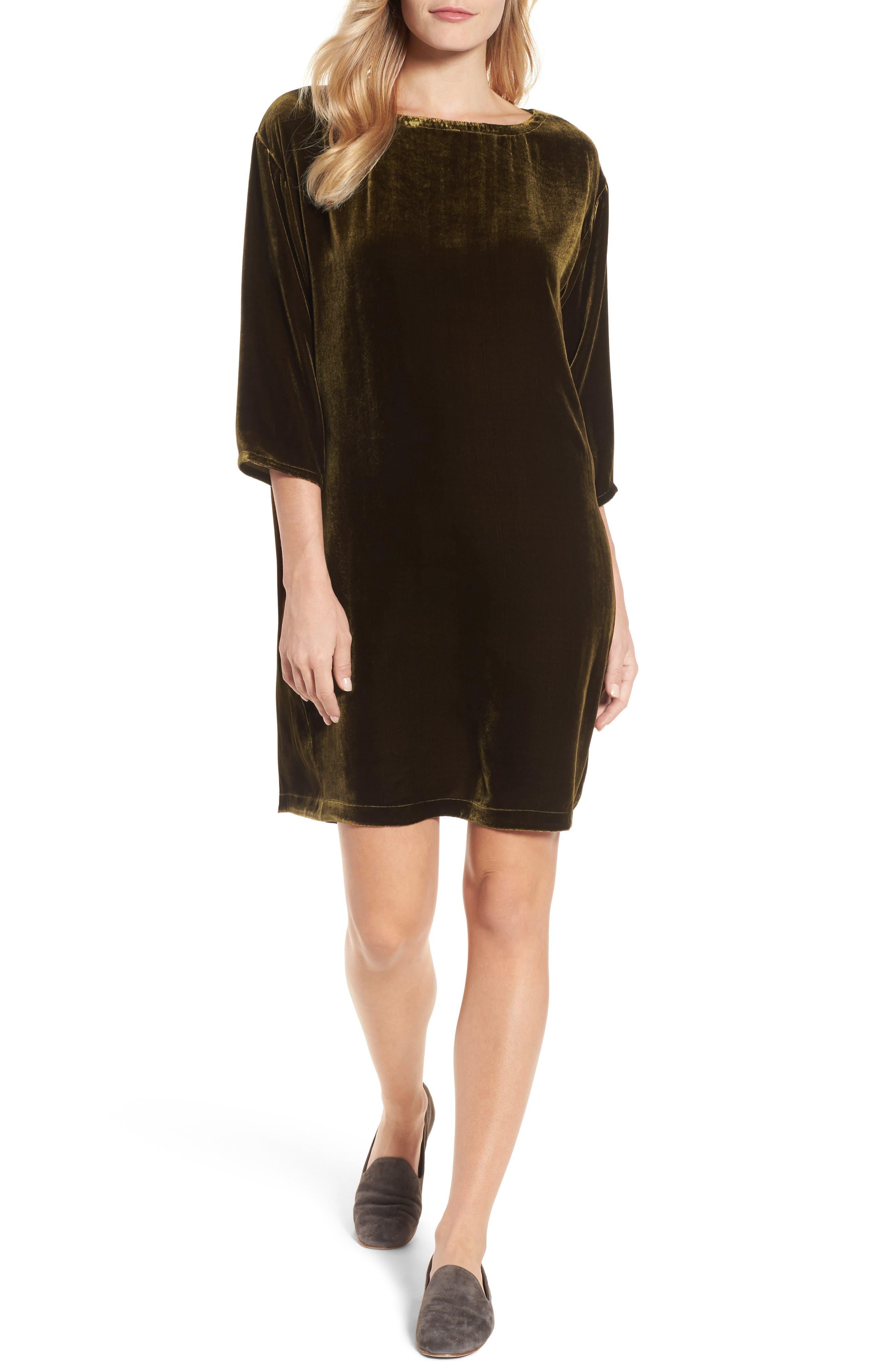 Velvet Shift Dress,                         Main,                         color, 342