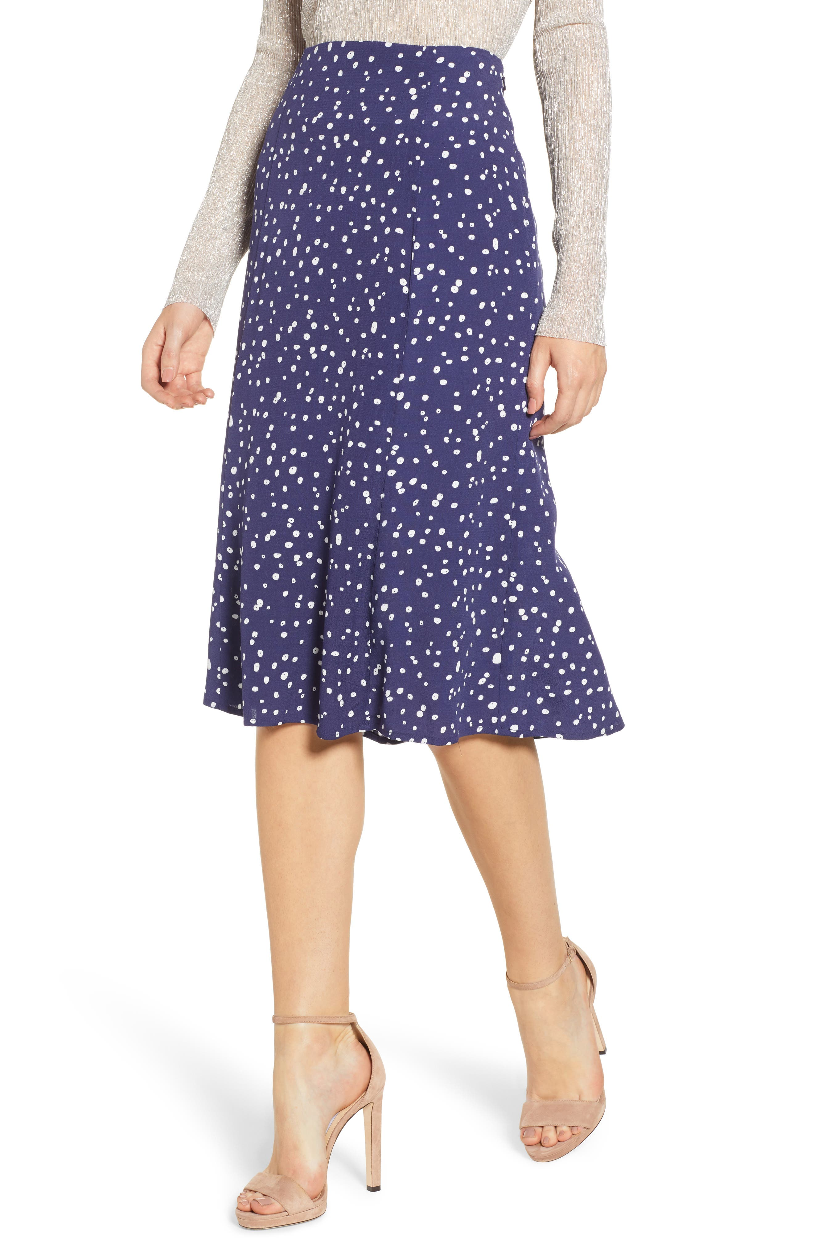 LEITH,                             High Waist Print Midi Skirt,                             Main thumbnail 1, color,                             NAVY PEACOAT BUTTON DOTS