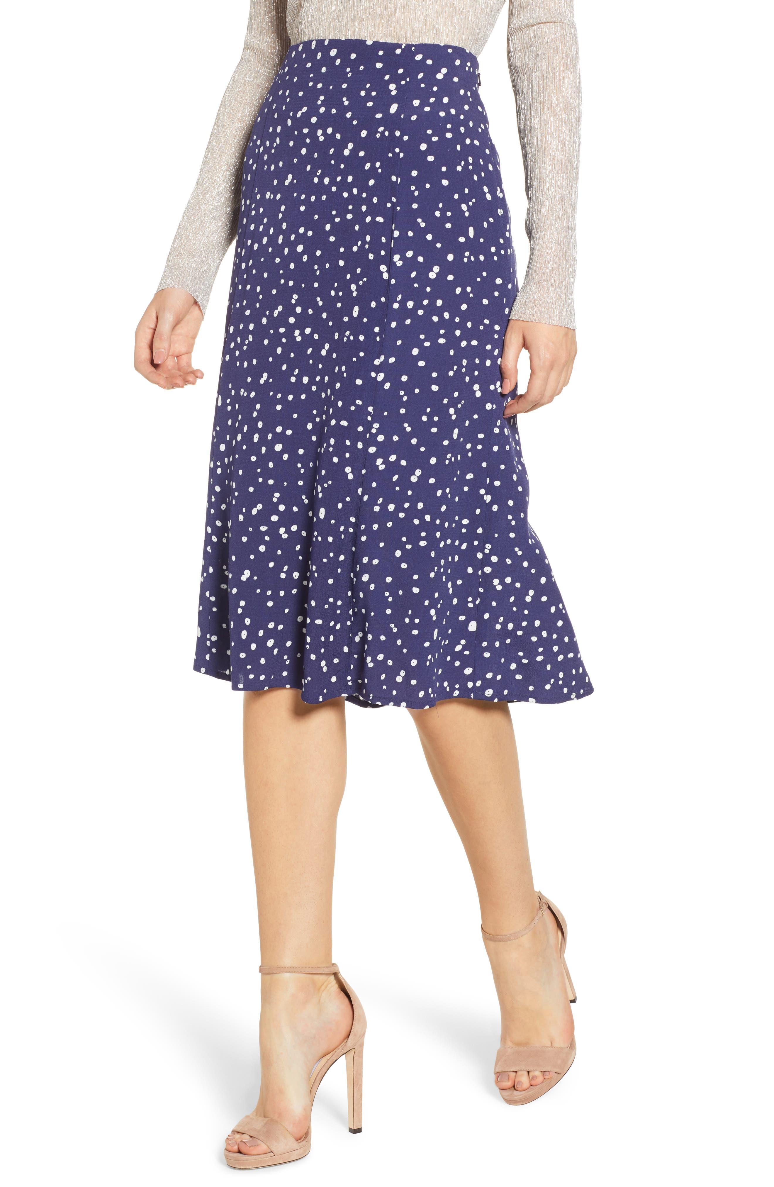 LEITH High Waist Print Midi Skirt, Main, color, NAVY PEACOAT BUTTON DOTS