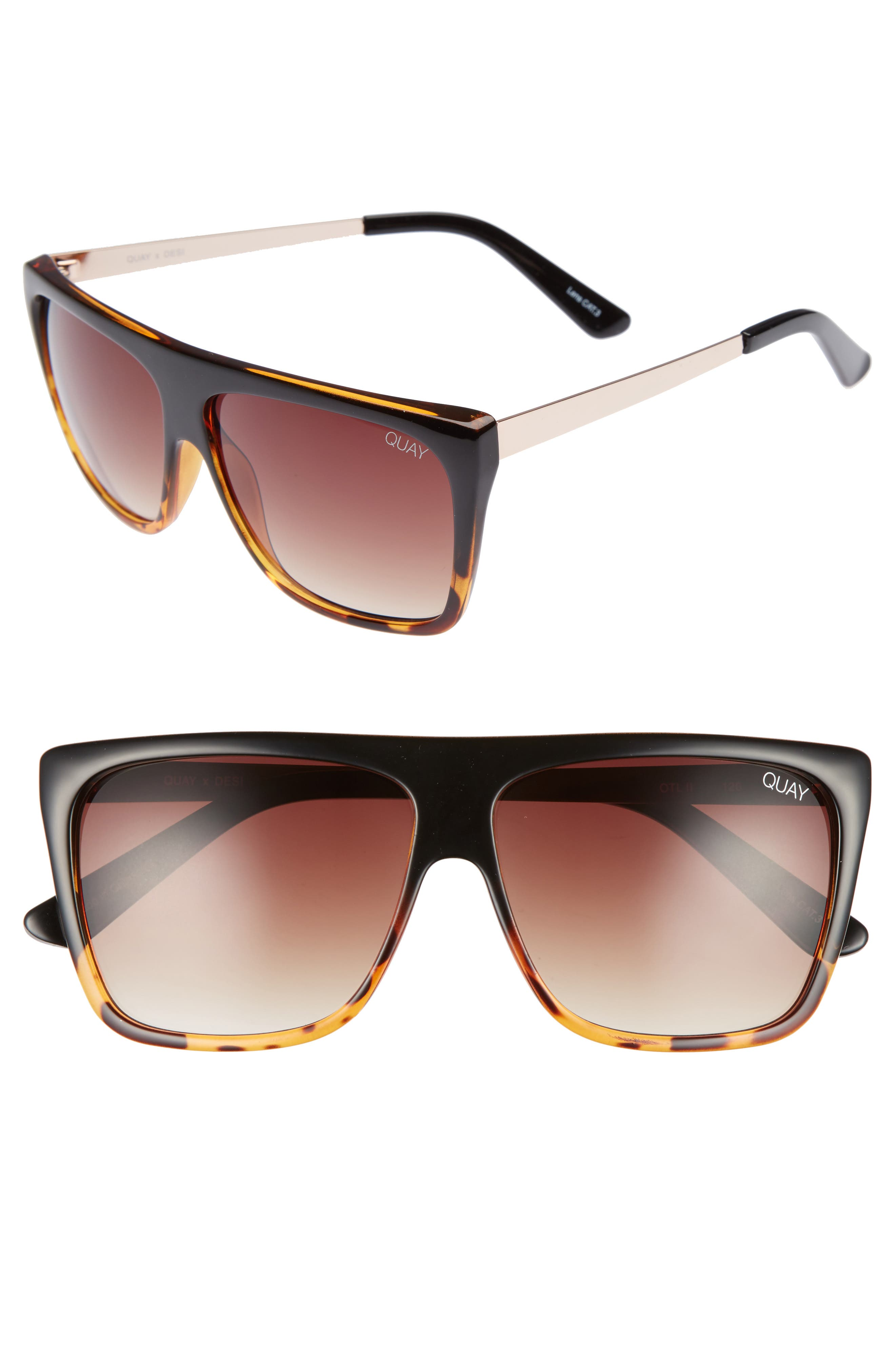 x Desi Perkins On the Low 60mm Square Sunglasses,                             Main thumbnail 1, color,                             TORT/ BROWN