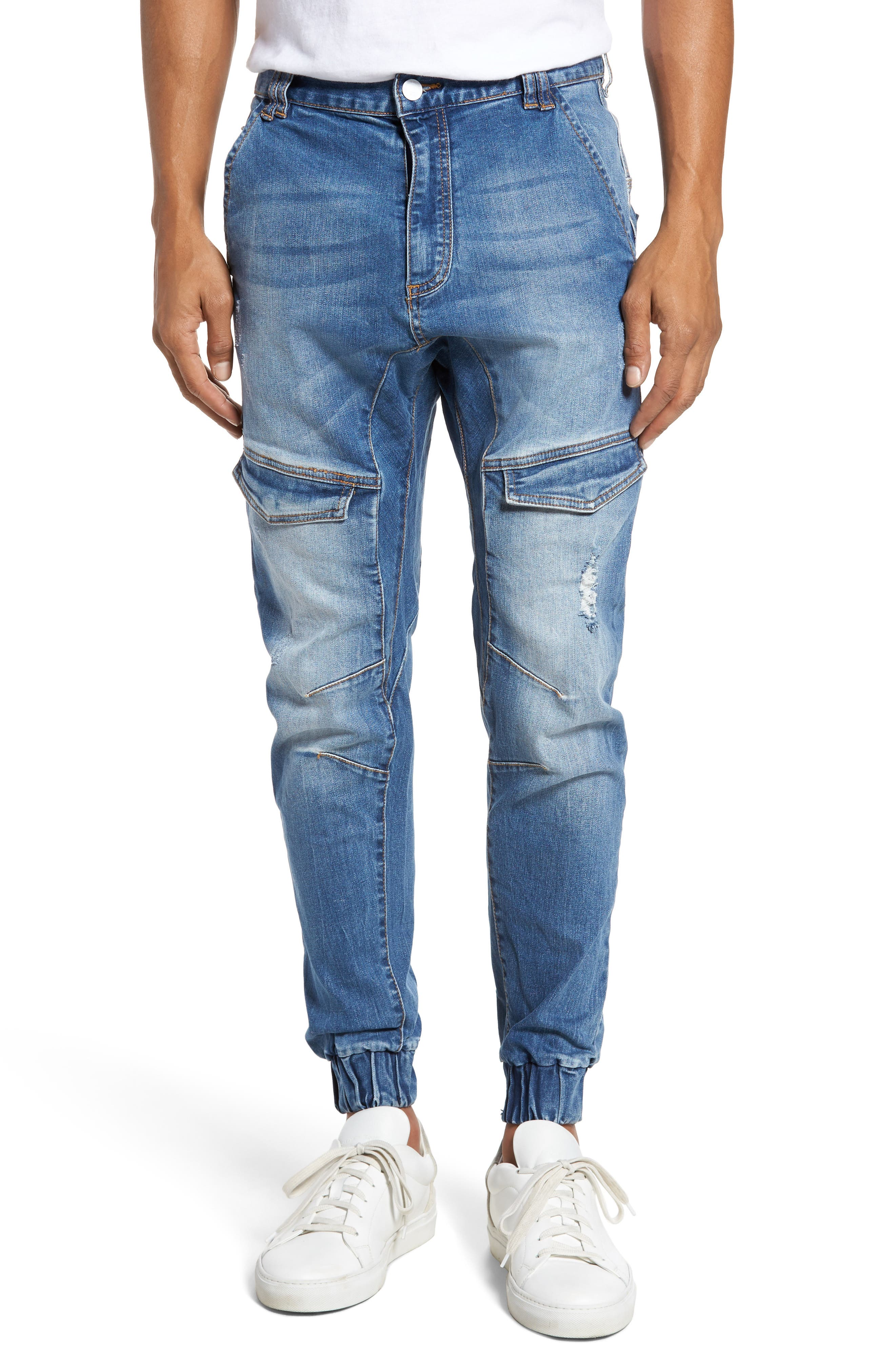 Flight Skinny Denim Jogger Pants,                             Main thumbnail 5, color,