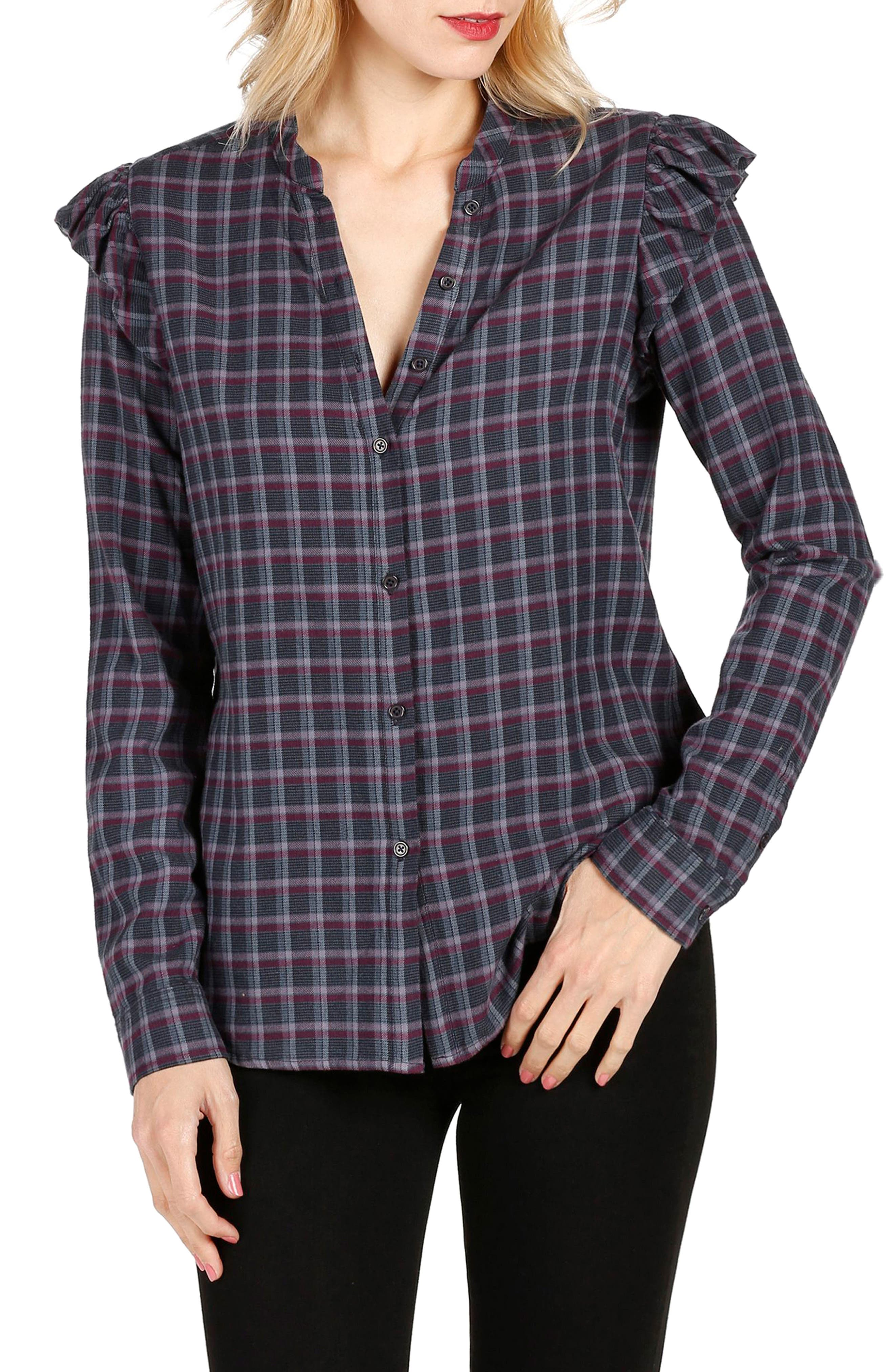 Jenelle Ruffle Plaid Shirt,                         Main,                         color, 460