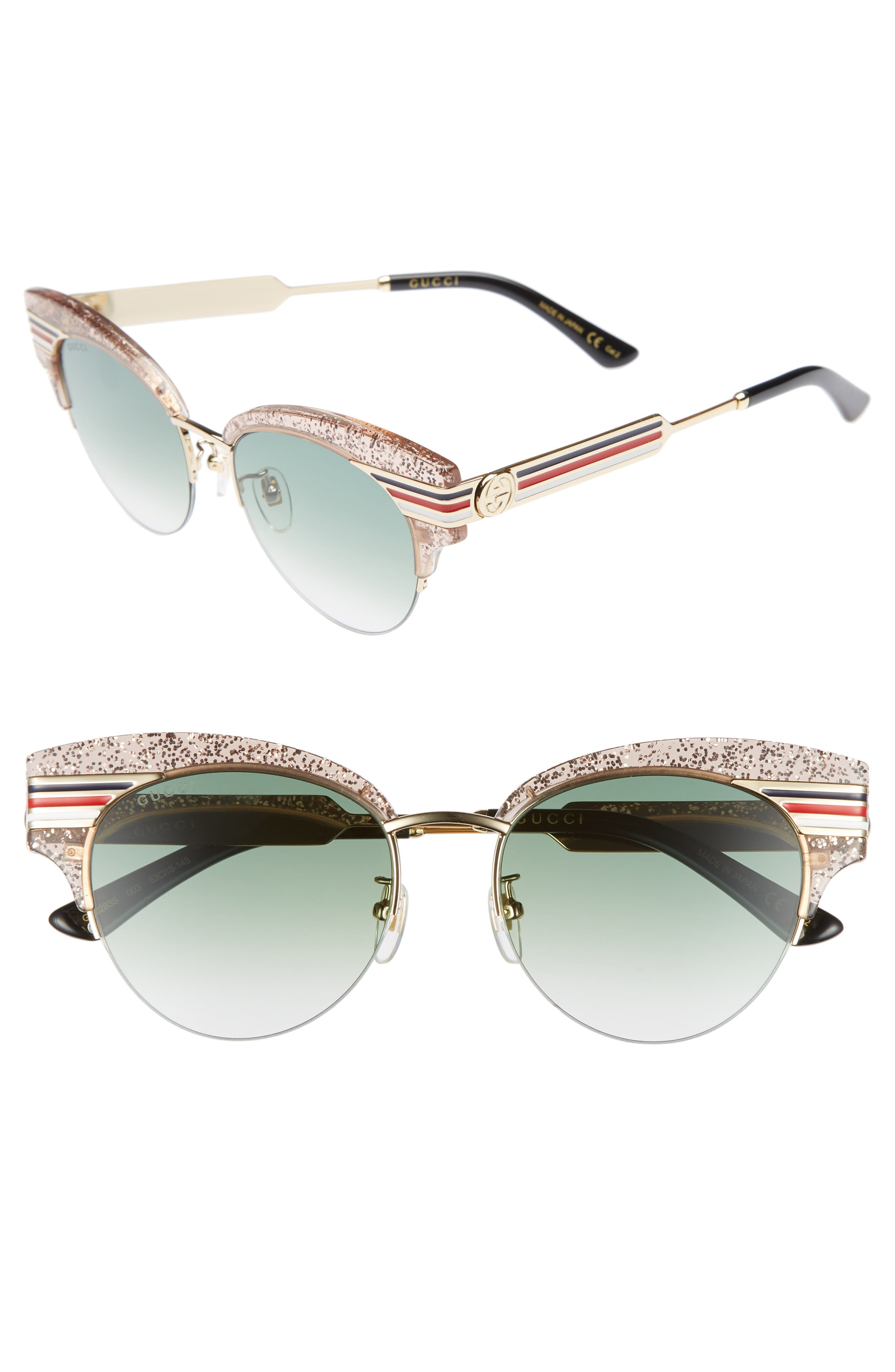 53mm Cat Eye Sunglasses,                             Main thumbnail 1, color,                             NUDE/ GOLD/ BLACK