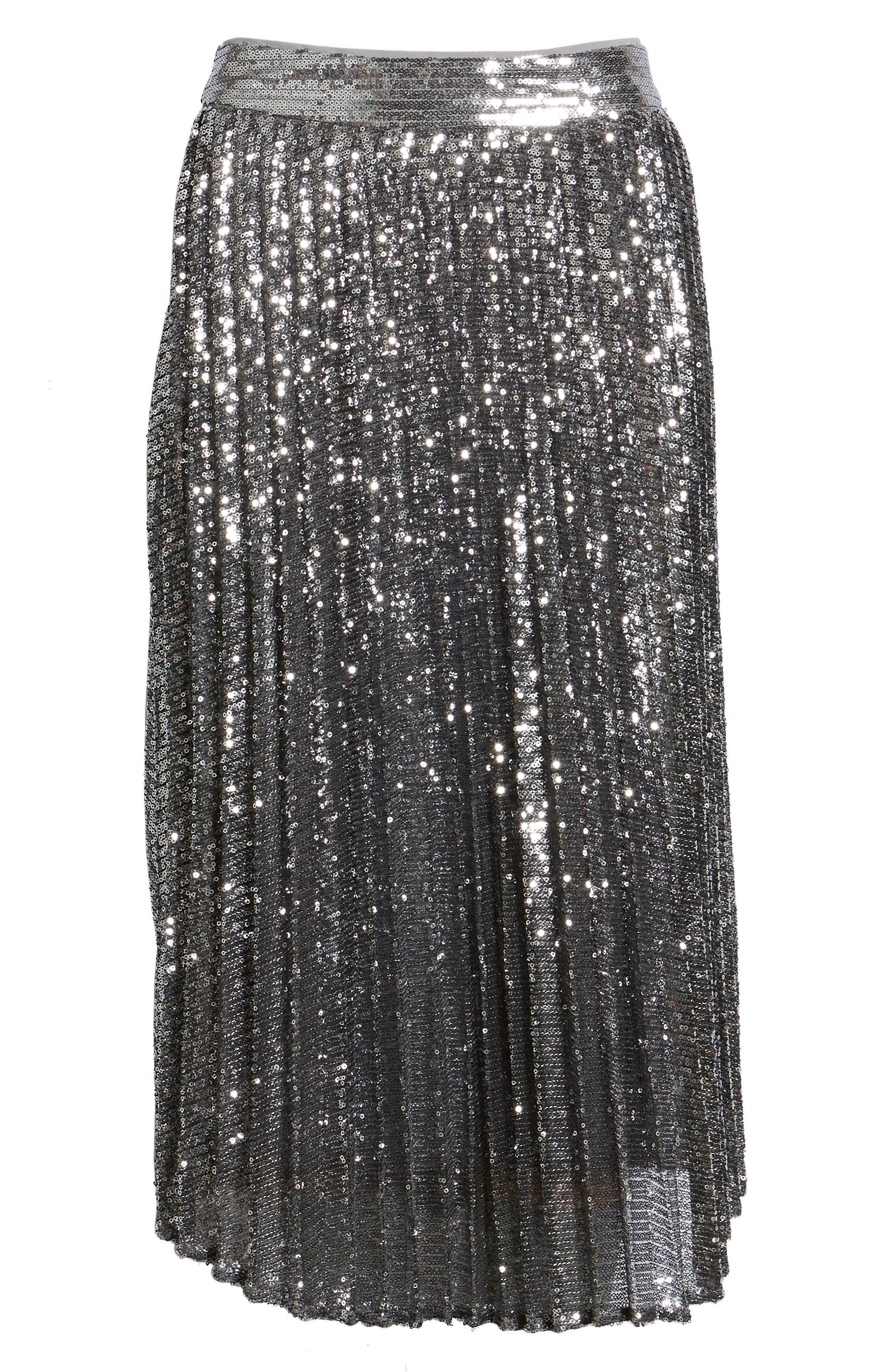 CHELSEA28,                             Sequin Skirt,                             Alternate thumbnail 6, color,                             SILVER