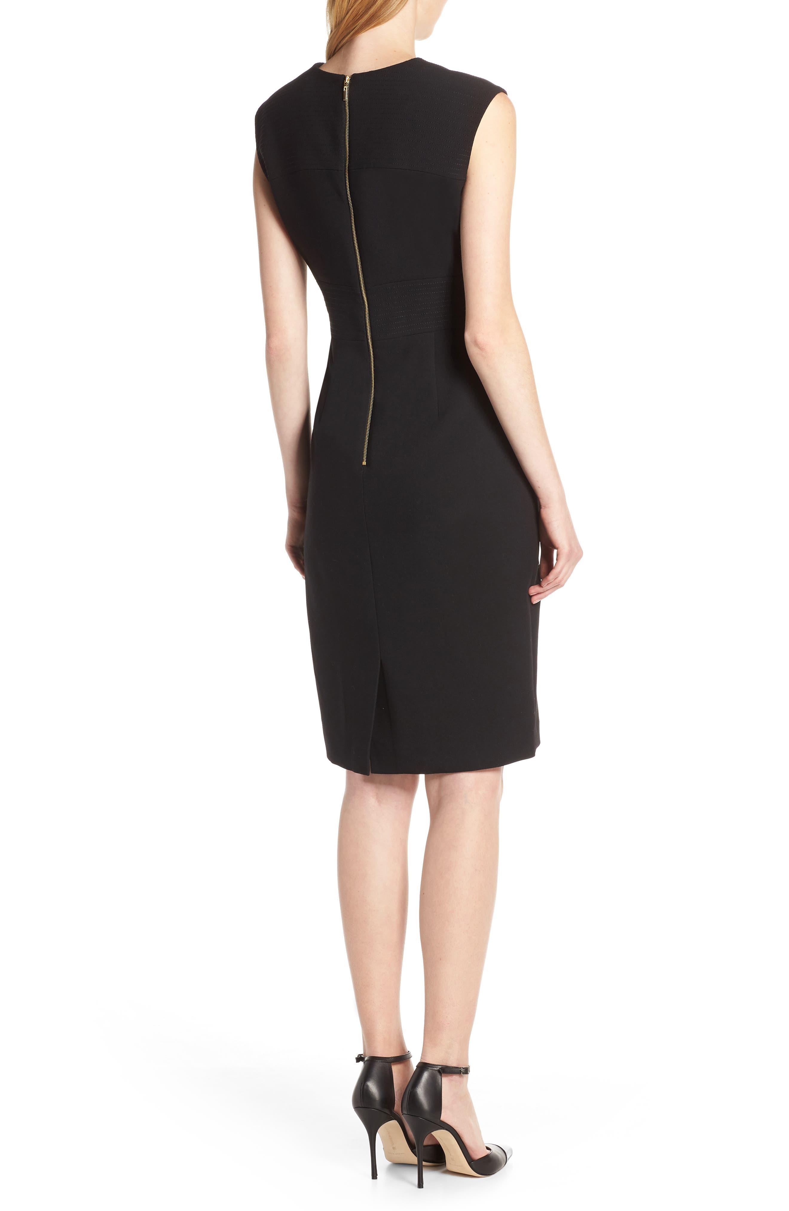 TAHARI,                             Star Neckline Crepe Sheath Dress,                             Alternate thumbnail 2, color,                             BLACK