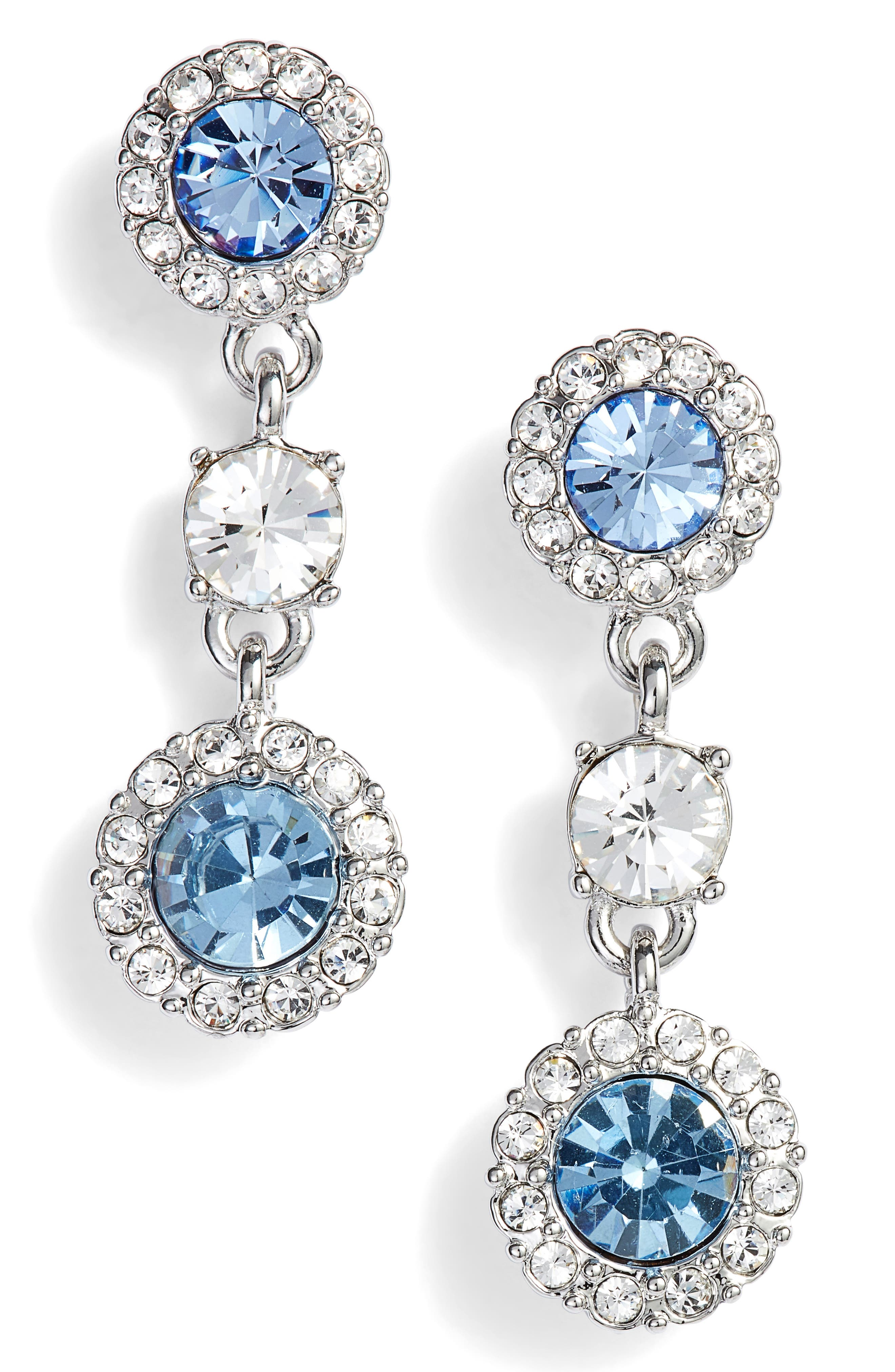 Swarovski Crystal Triple Drop Earrings,                             Main thumbnail 1, color,                             SILVER/ SAPPHIRE/ CRYSTAL