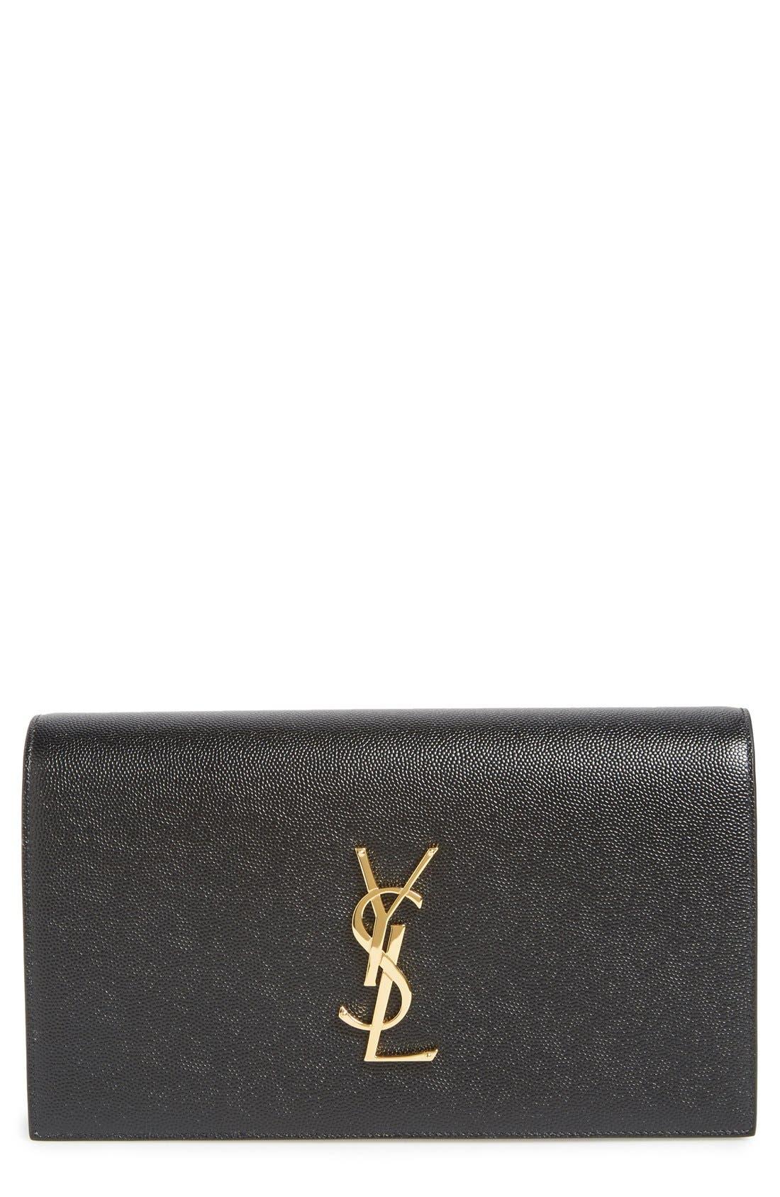 'Monogram' Leather Clutch,                         Main,                         color, NOIR