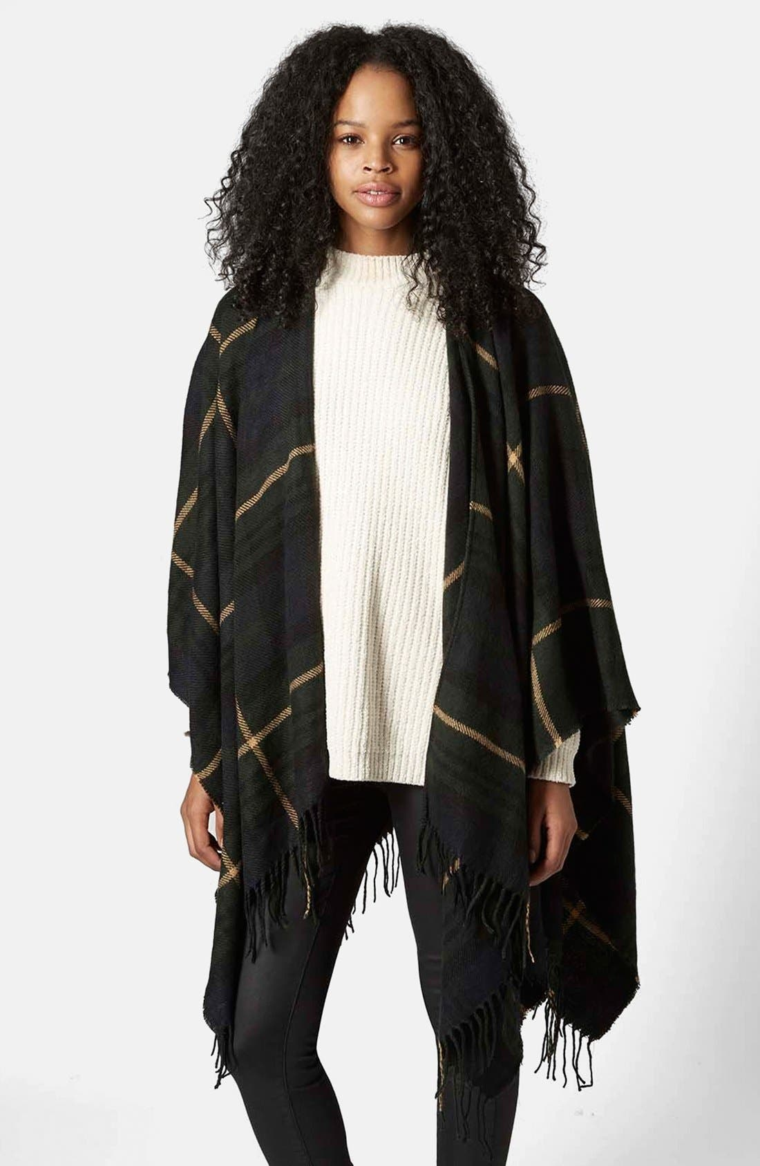 TOPSHOP,                             Checked Cape,                             Main thumbnail 1, color,                             400