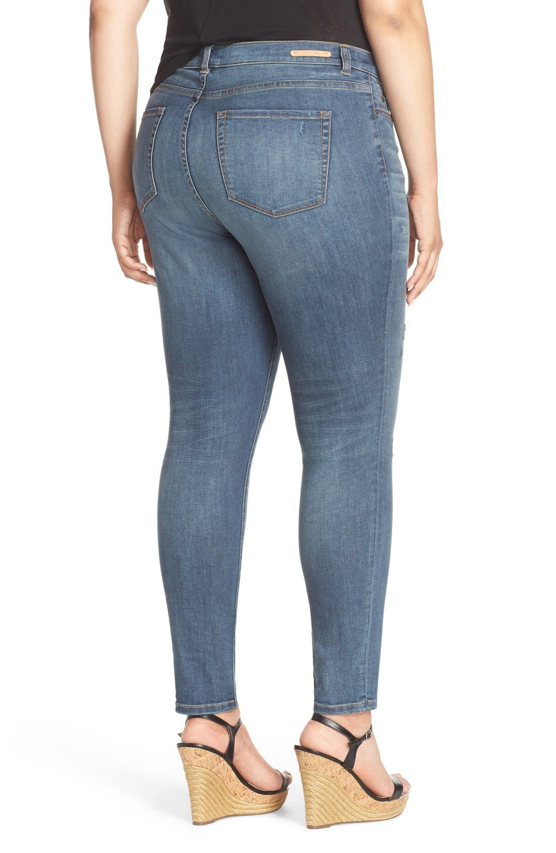 Distressed Stretch Ankle Skinny Jeans,                             Alternate thumbnail 4, color,