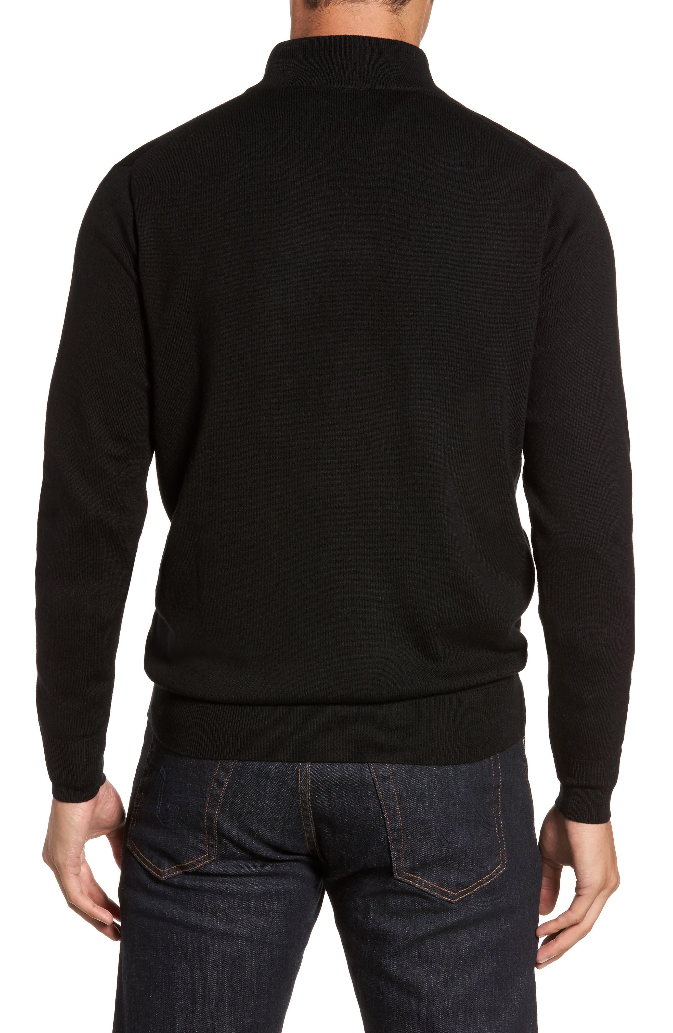 Crown Soft Merino Blend Quarter Zip Sweater,                             Alternate thumbnail 2, color,                             001