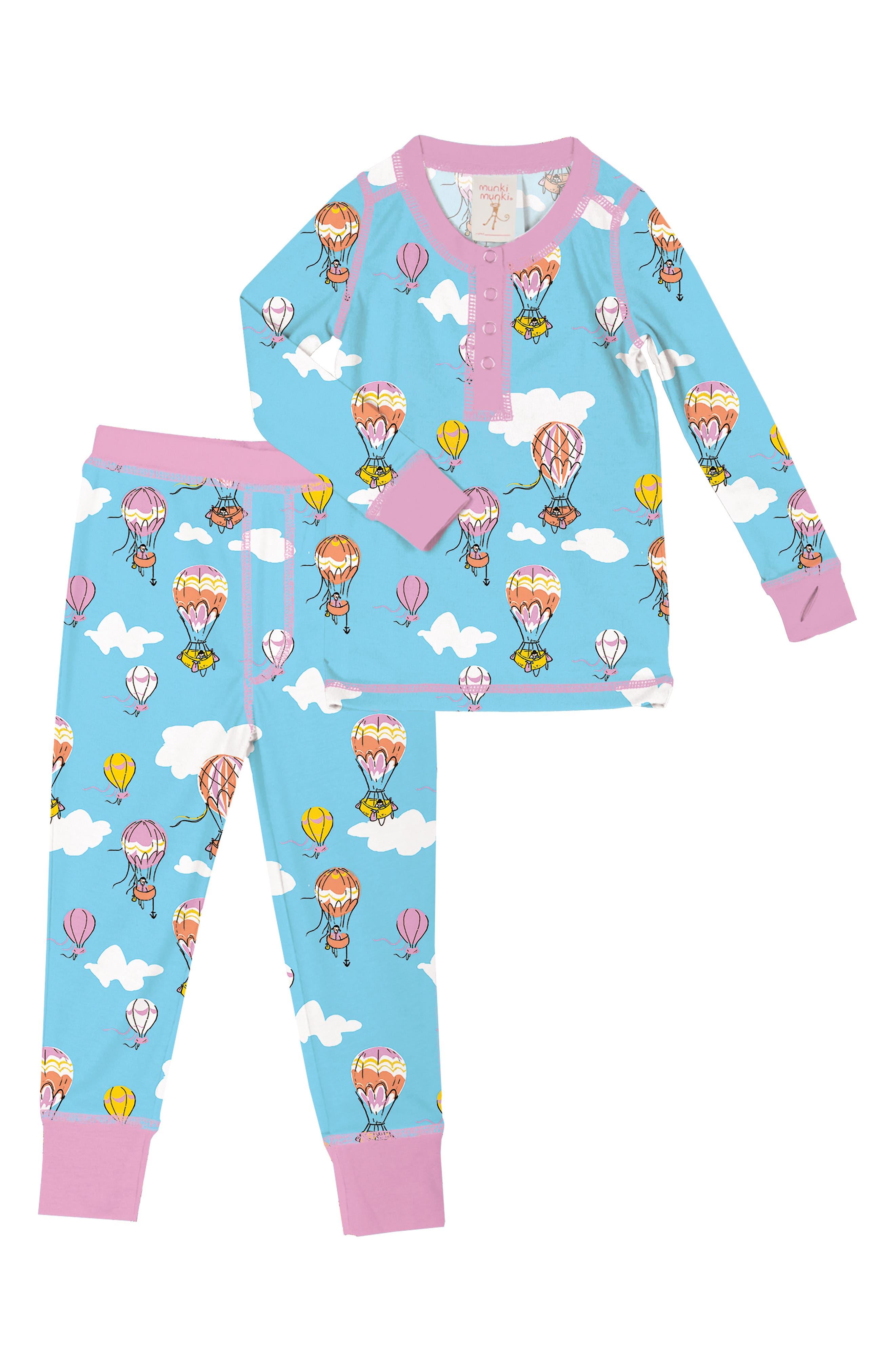 Toddler Girls Munki Munki Hot Air Balloon Fitted TwoPiece Pajamas Size 2  Blue