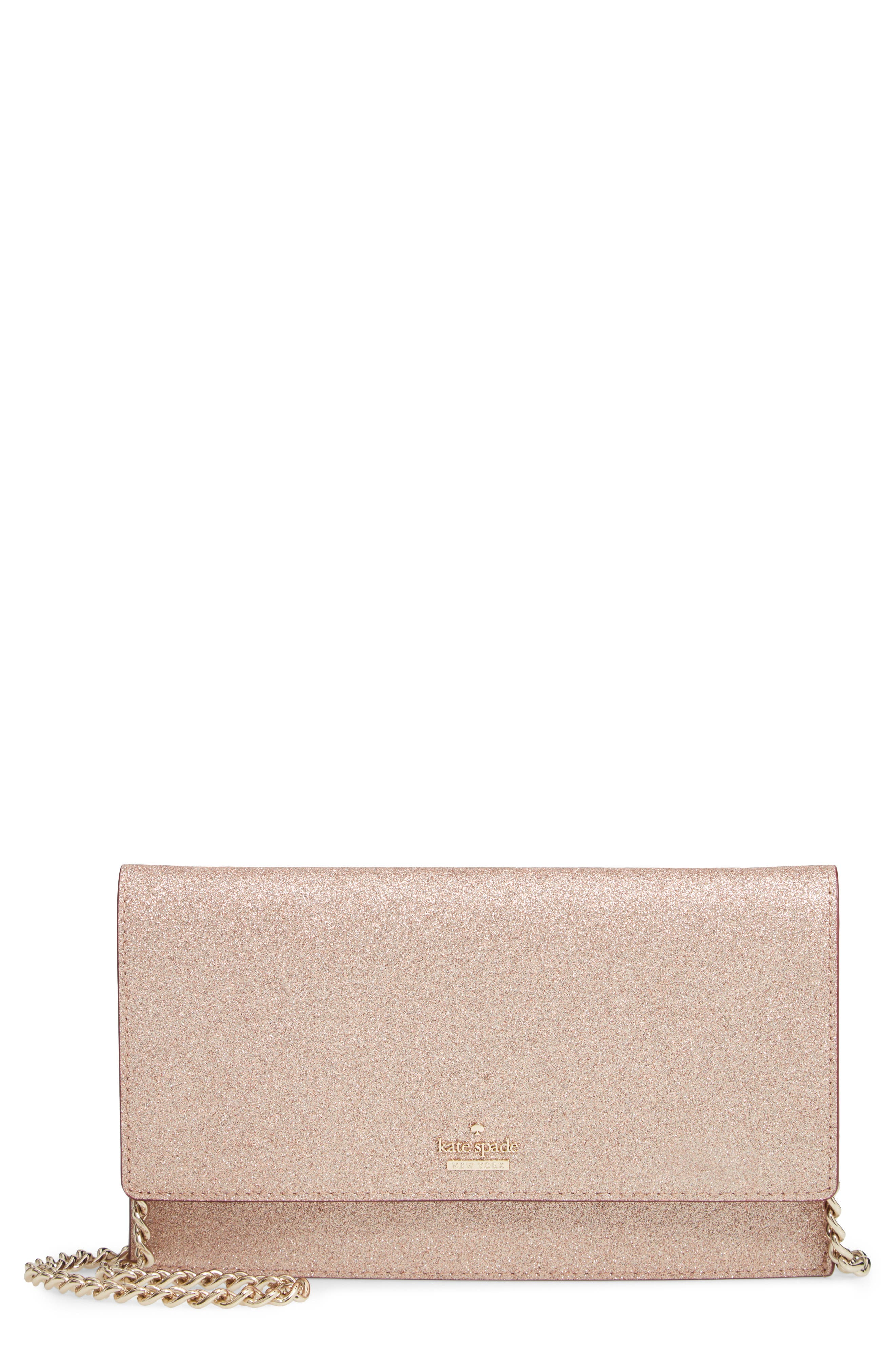 Kate Spade New York Womens Bags Hayden Pink Burgess Court Brennan Glitter Leather Crossbody Clutch